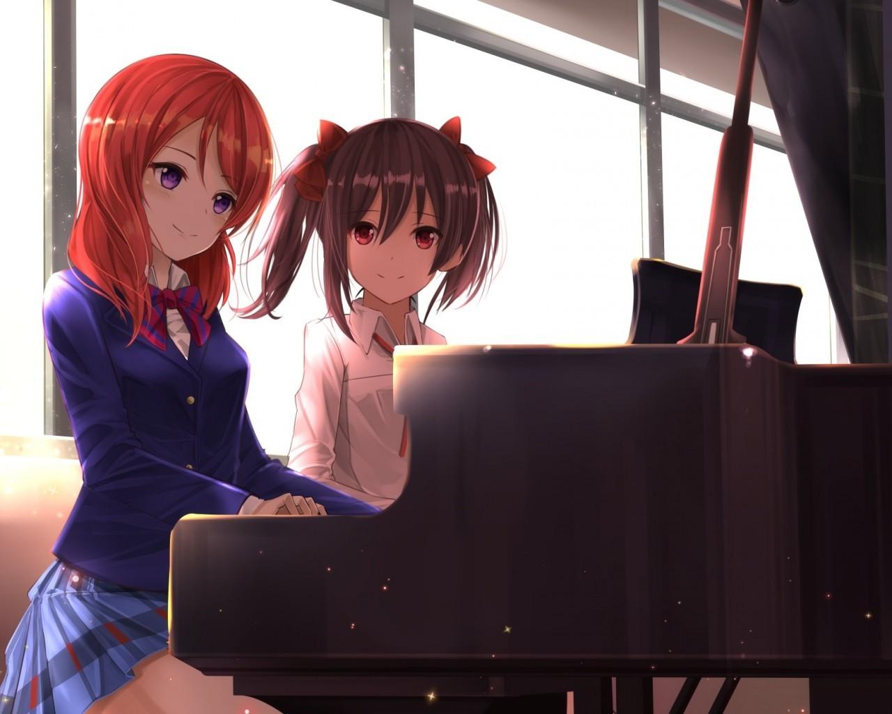 Nishikino Maki, Yazawa Nico, Love Live, Piano, Instrument, - Nishikino Maki And Yazawa Nico - HD Wallpaper