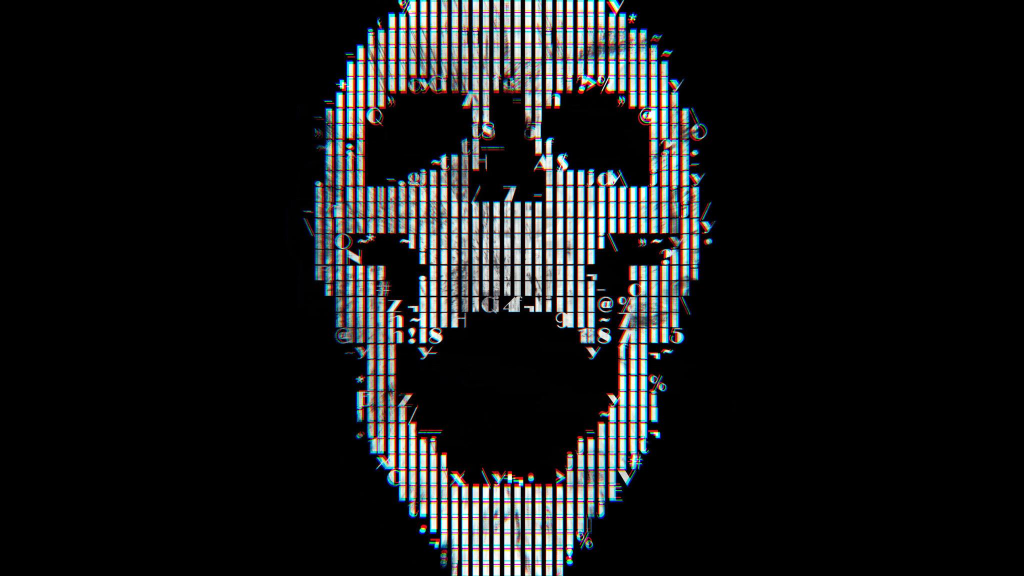 Glitch Art Skull Abstract Qt   Data Src Download Free - Skull Abstract Wallpaper Hd - HD Wallpaper