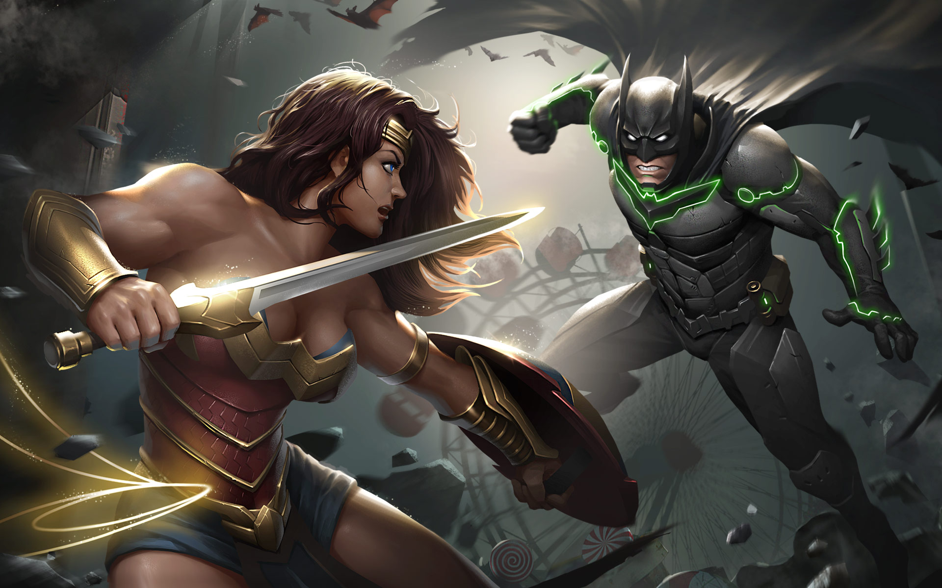 Wallpaper Injustice 2, Video Game, Wonder Woman, Batman, - Injustice 2 Wonder Woman - HD Wallpaper