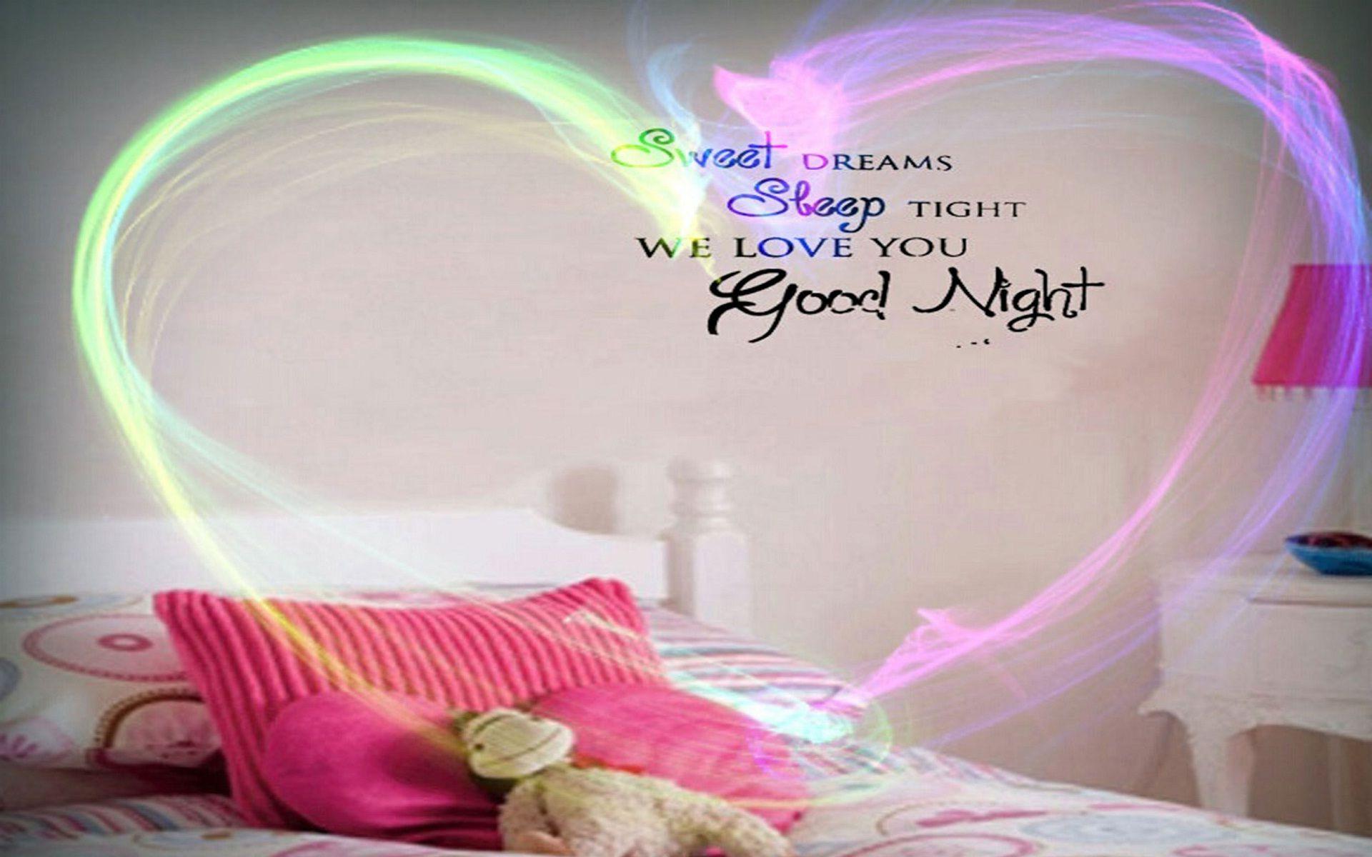 Good Night Love You Hearts Bedroom Wallpapers - Good Night I Love You - HD Wallpaper