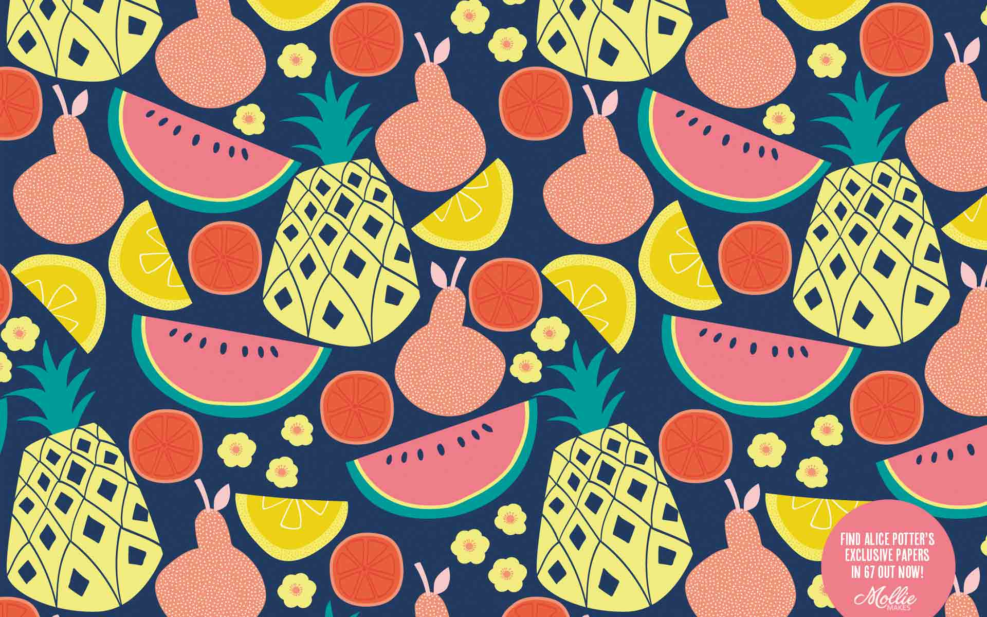 Free Wallpaper Backgrounds By Alice Potter Desktop - Summer Pattern Desktop Background - HD Wallpaper