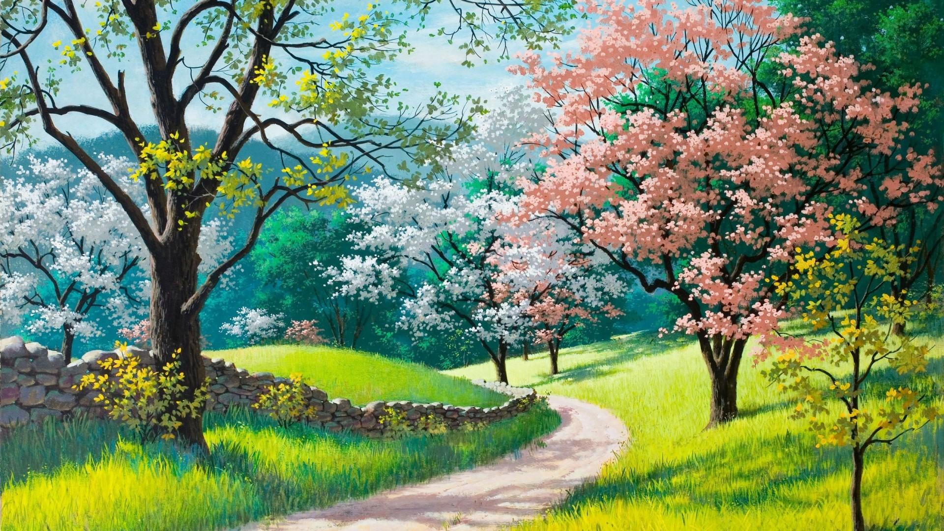 Spring Nature Desktop Wallpaper - Spring Beautiful Paintings Of Nature - HD Wallpaper