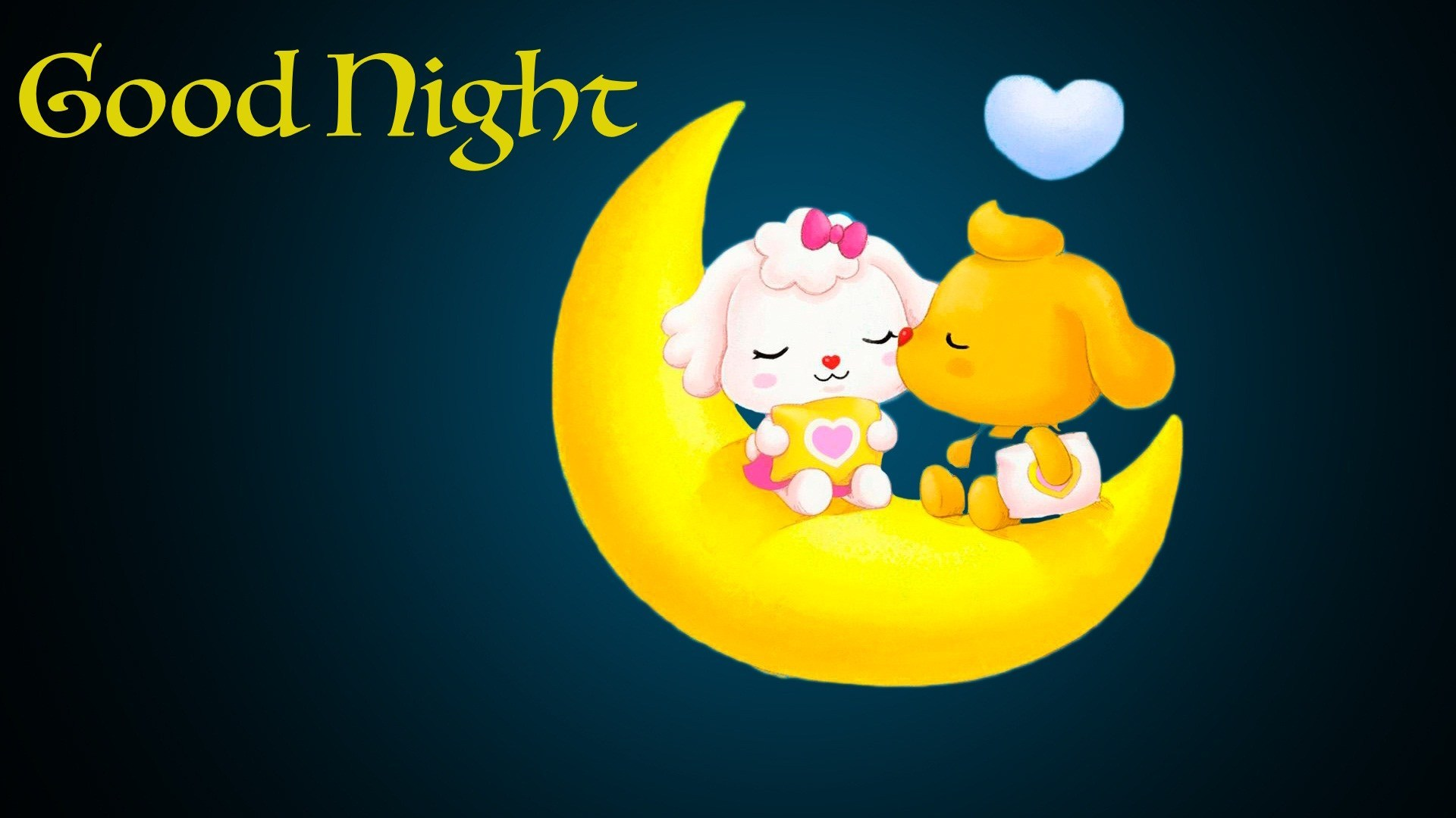 Good Night Cartoon Kiss Moon Image - Love Good Night Cute - HD Wallpaper