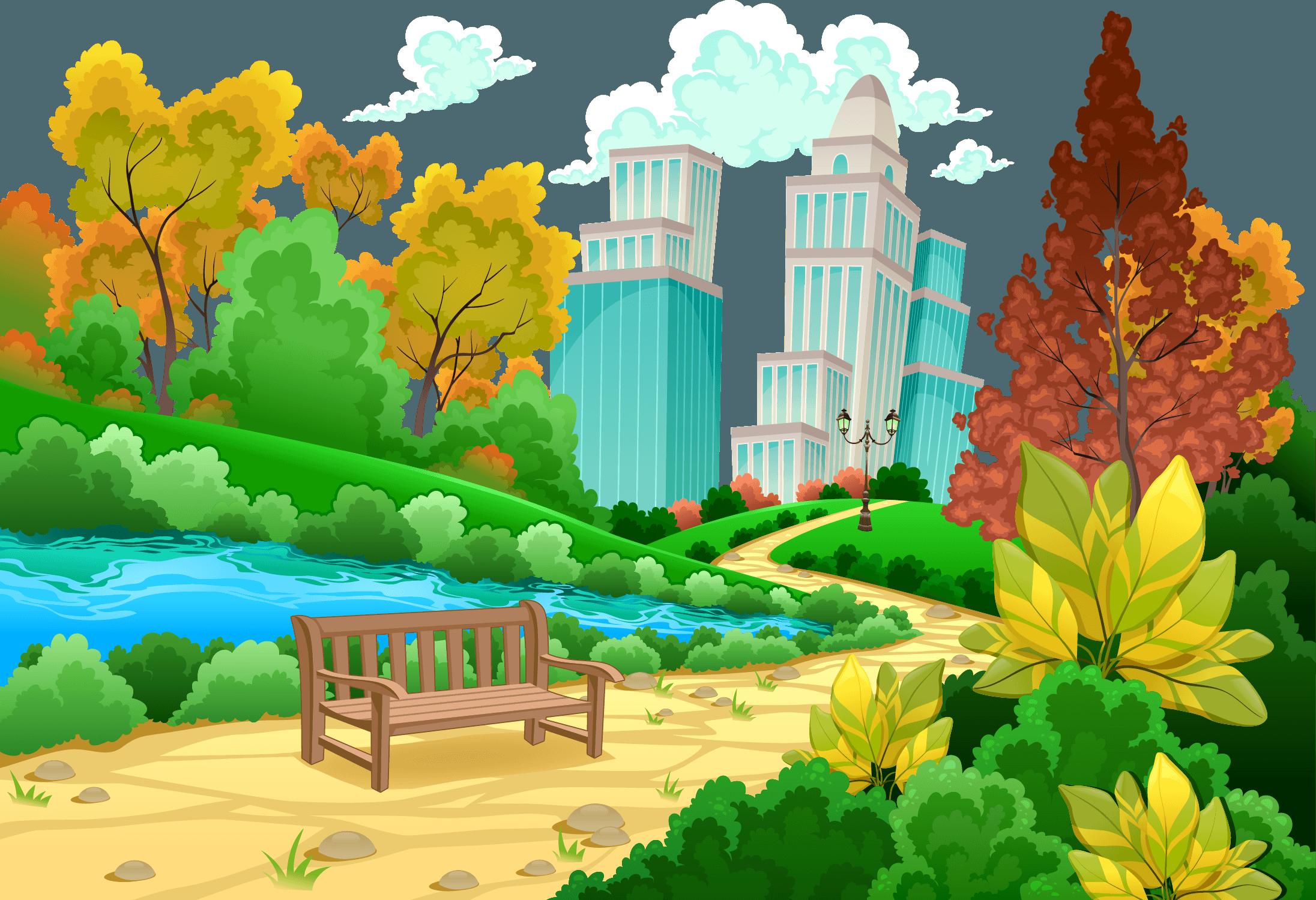 Clip Art Best Free Cartoon - Urban Scenery - HD Wallpaper