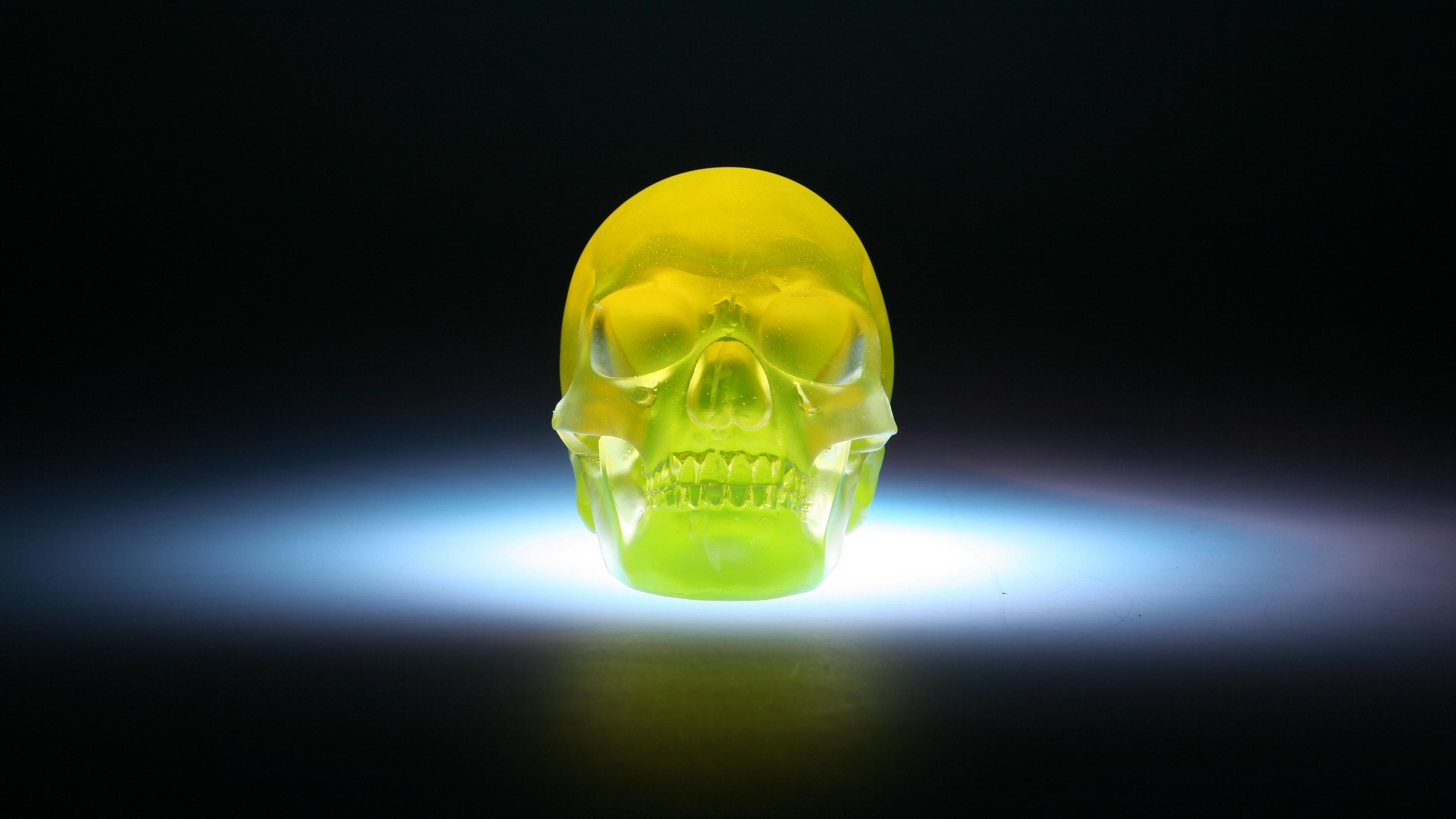 Neon Skull Wallpaper - Green Glow In The Dark Skull - HD Wallpaper