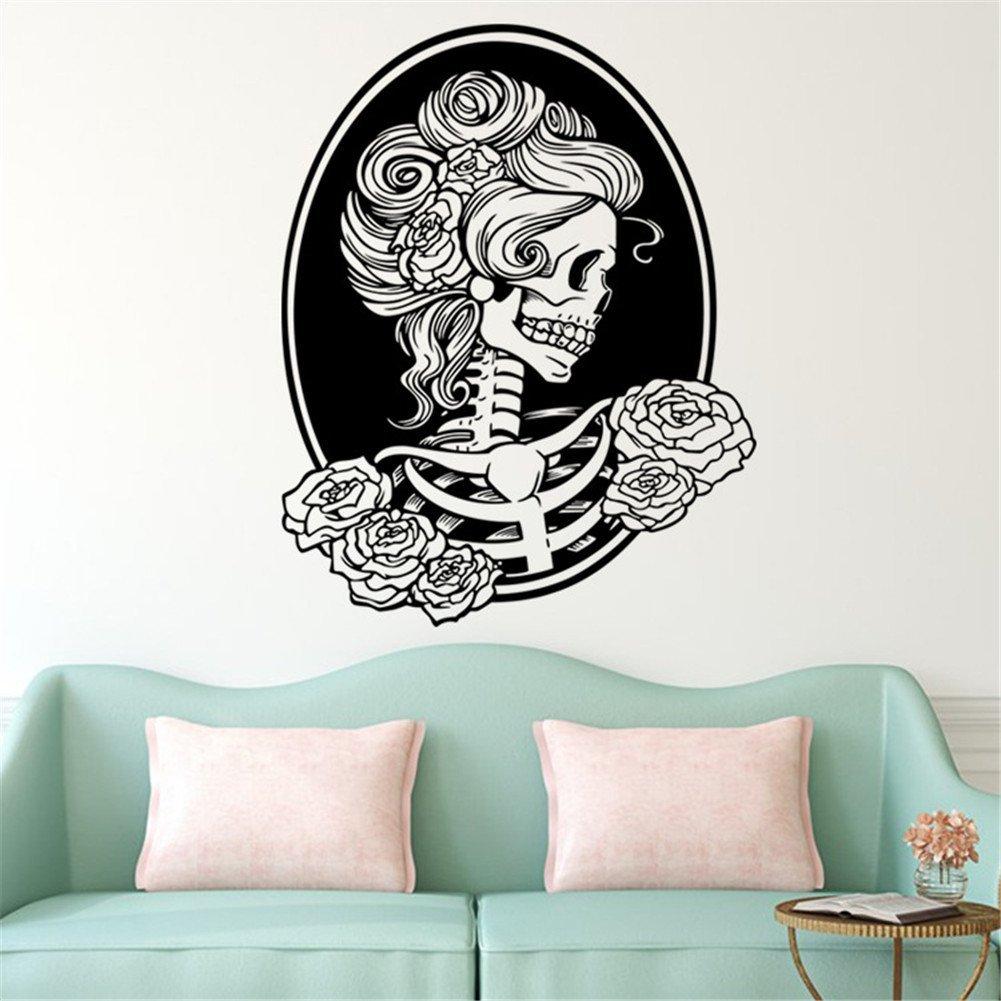 Bibitime Halloween Skull Wall Art Decor Decals Skeleton - Wall Skeleton Sticker - HD Wallpaper