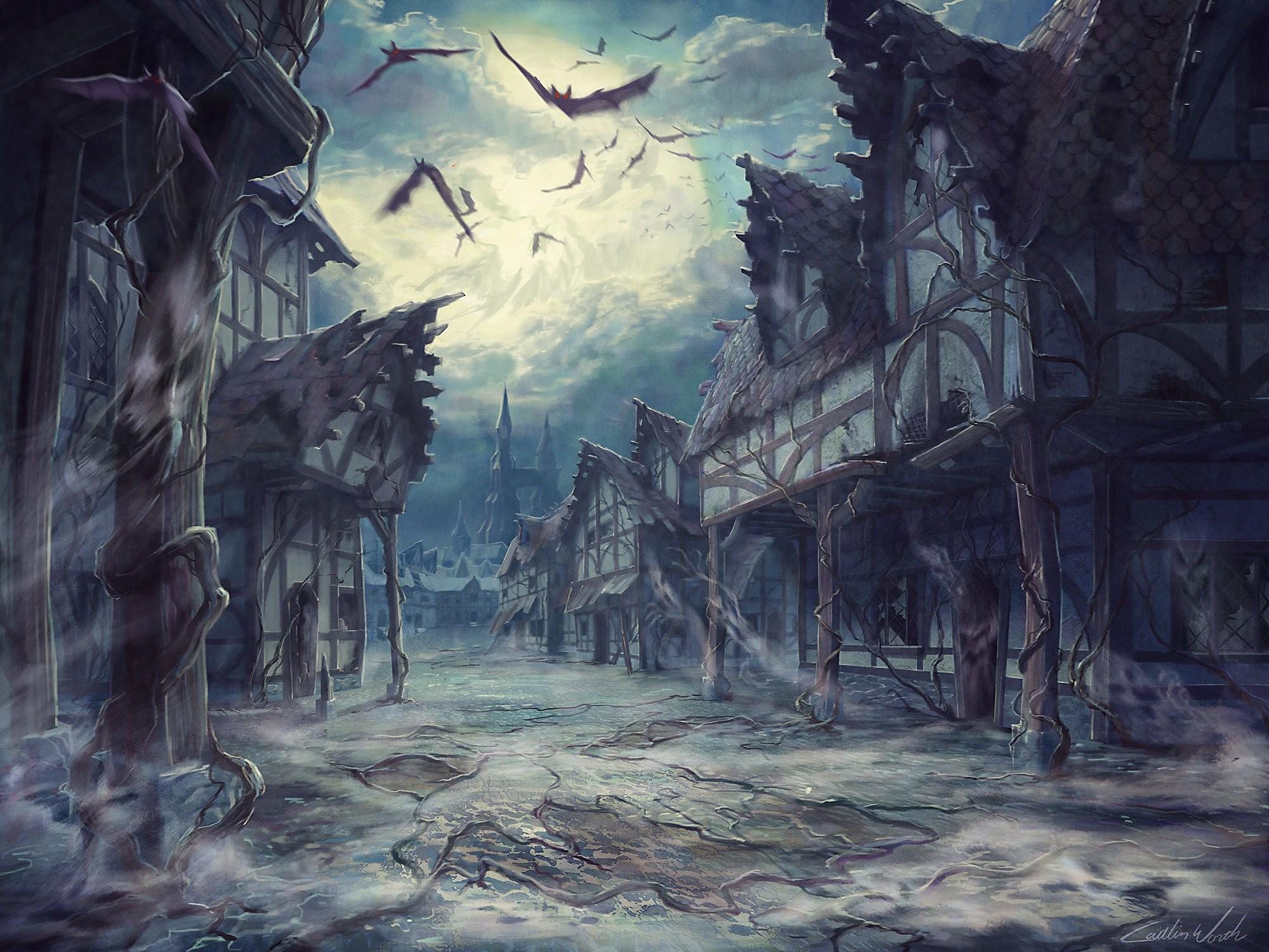 Moon, Horror, Halloweenstreet, Backgrounds,hd Abstract - Horror House Background Hd - HD Wallpaper