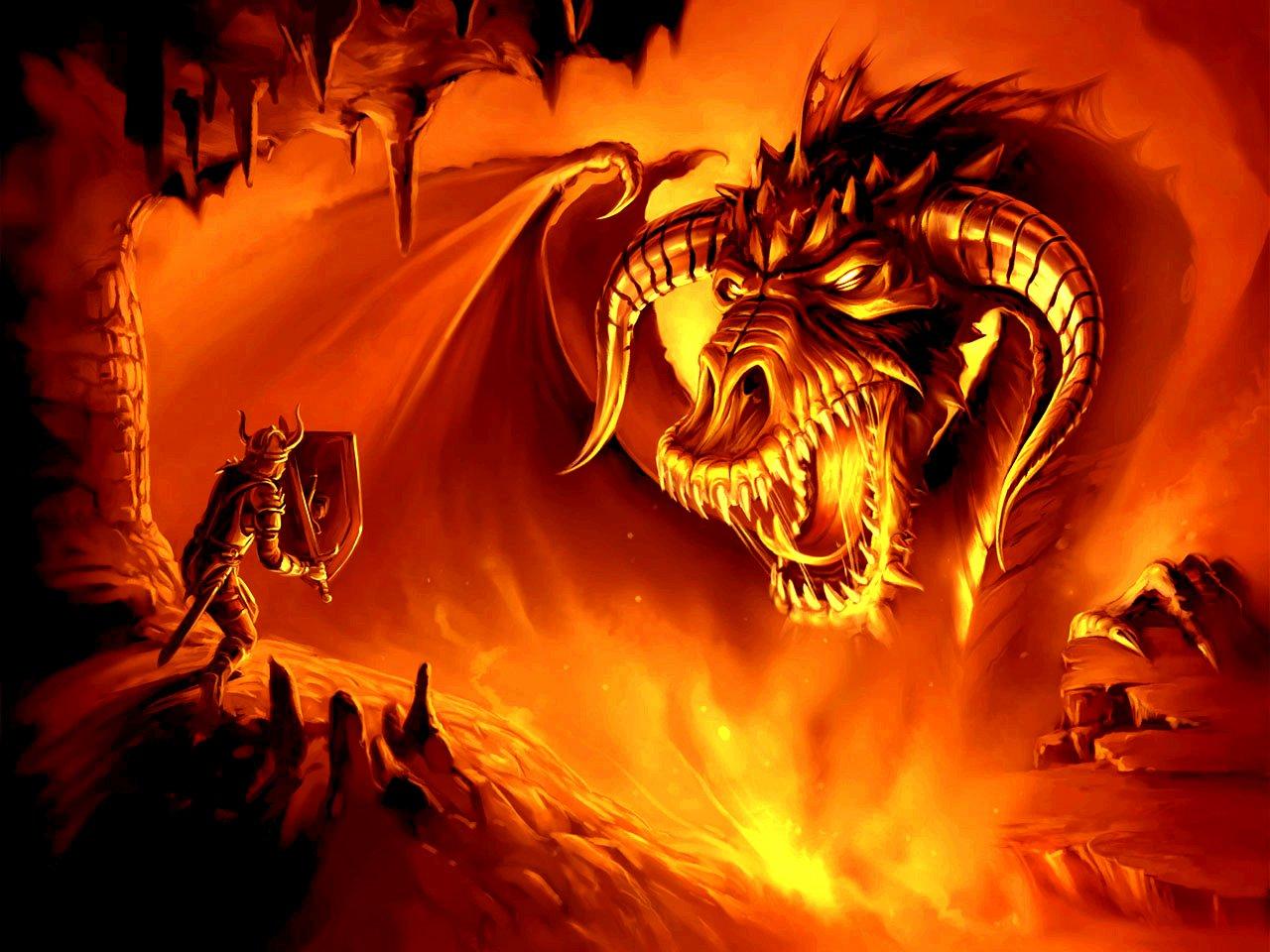 Magic-wallpapers - Warrior Fighting A Dragon - HD Wallpaper