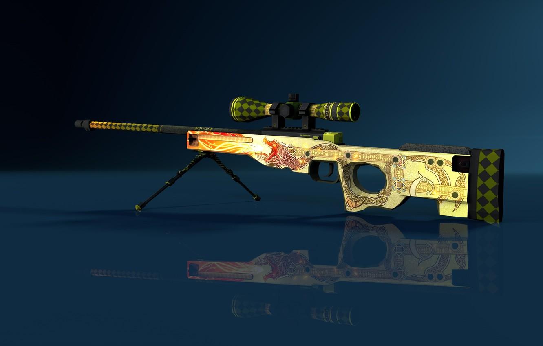 Photo Wallpaper Gun, Game, Weapon, Sniper, Counter - Awp Dragon Cs Go - HD Wallpaper