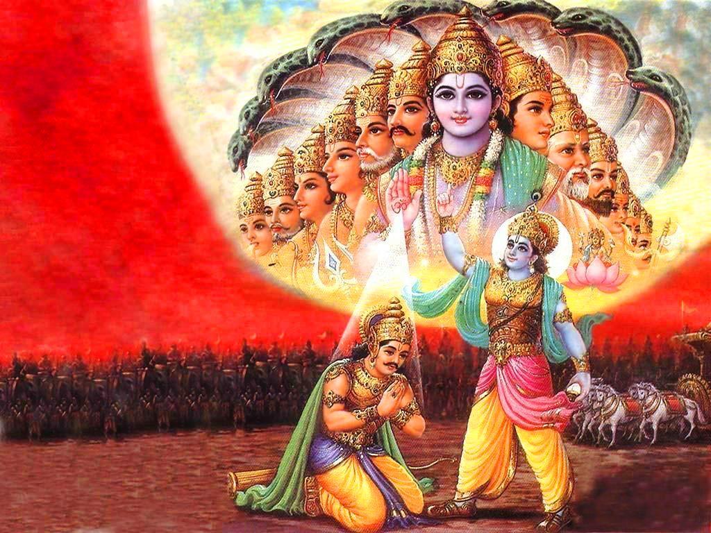 Lord Krishna - Krishna Virat Swaroop Hd - HD Wallpaper