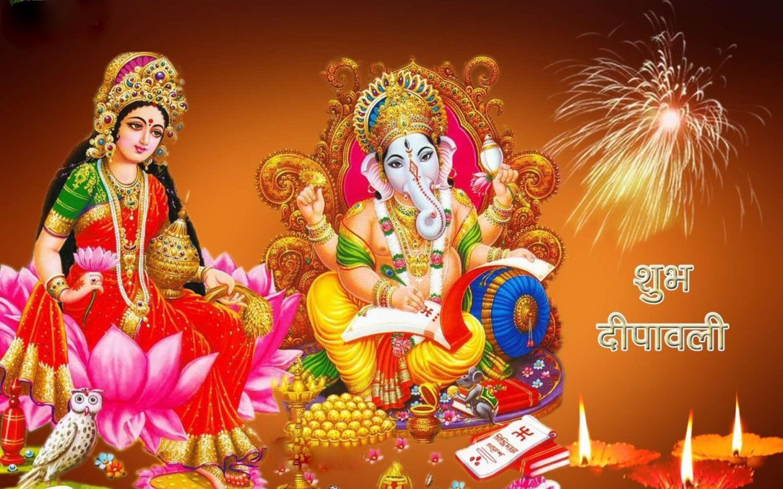 Goddess Laxmi And Ganesh - HD Wallpaper