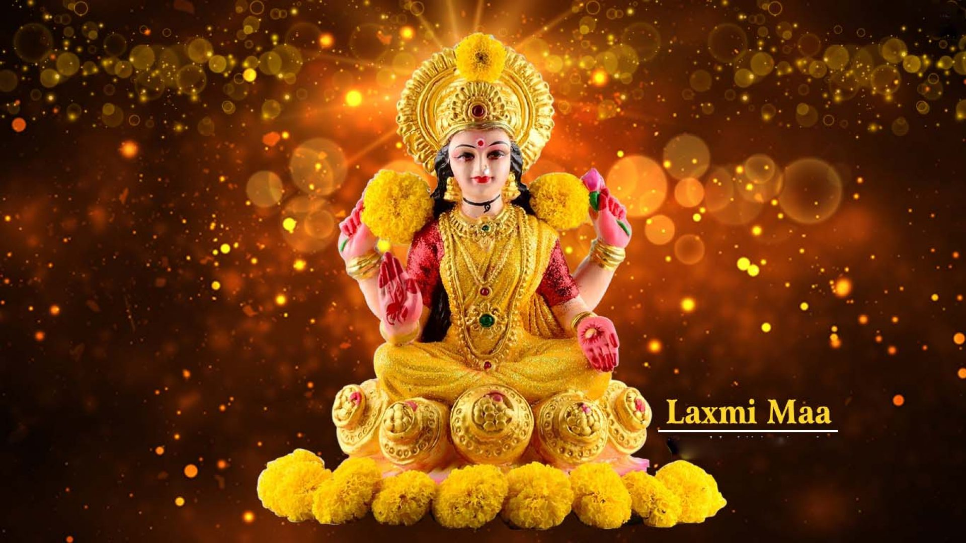 Lakshmi Devi With Gold 1920x1080 Wallpaper Teahub Io