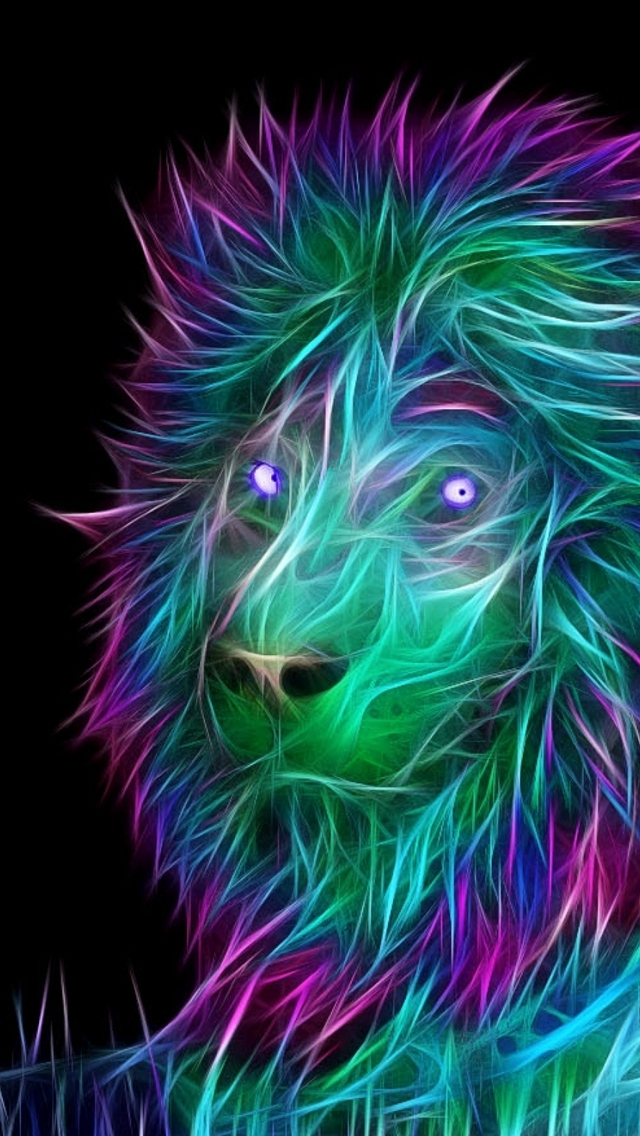 Abstract 3d Art Lion Colorful Hair Iphone Wallpaper - Iphone Se Wallpaper 3d - HD Wallpaper
