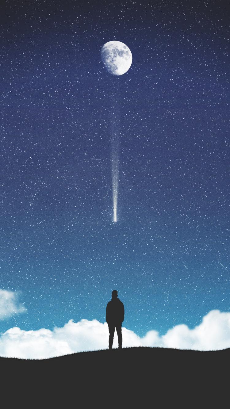 Moon Starry Sky Silhouette Falling Stars Wallpaper Moon Stars Background Iphone 750x1334 Wallpaper Teahub Io