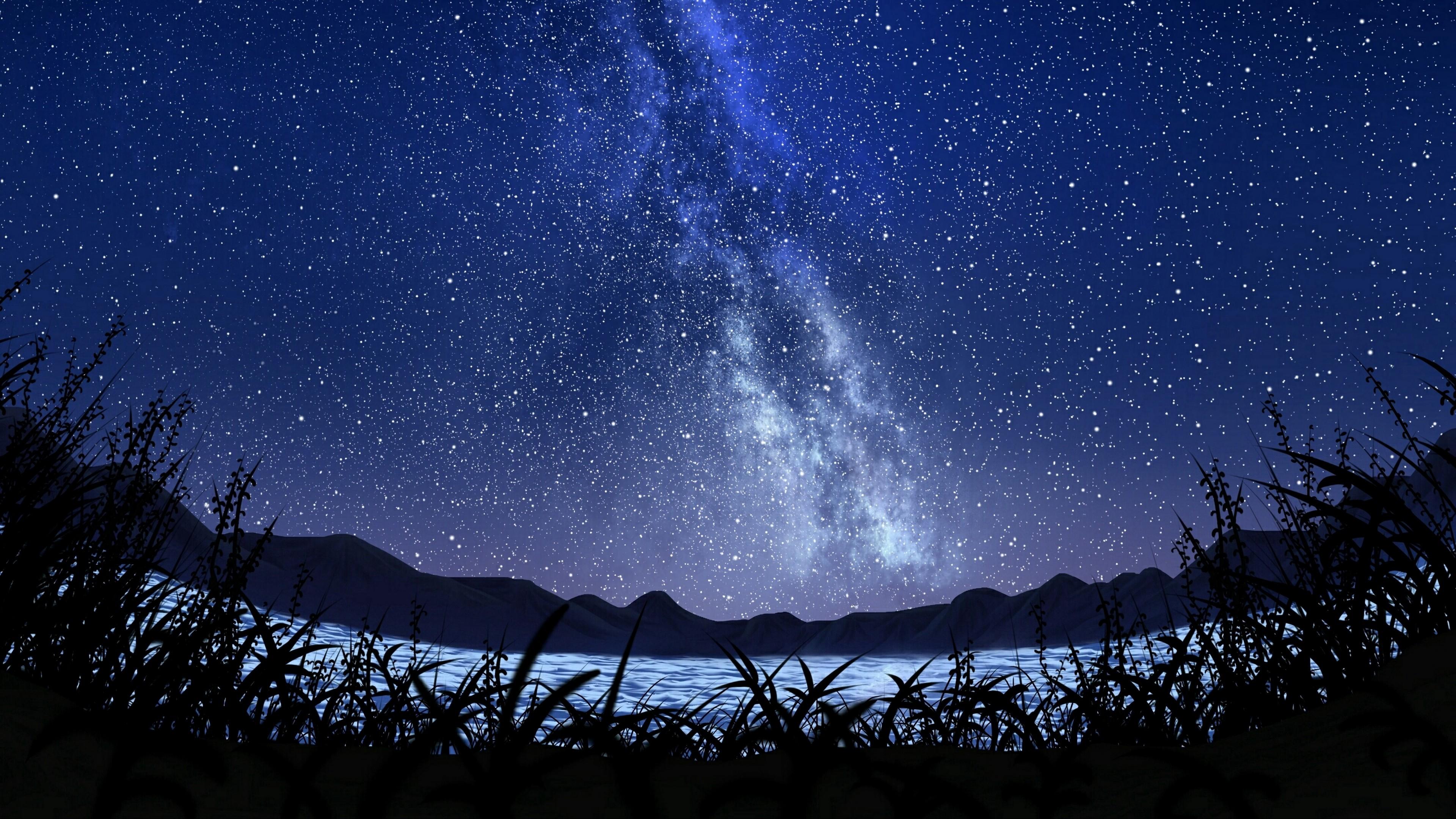 Anime Starry Night Sky Background 3840x2160 Wallpaper Teahub Io