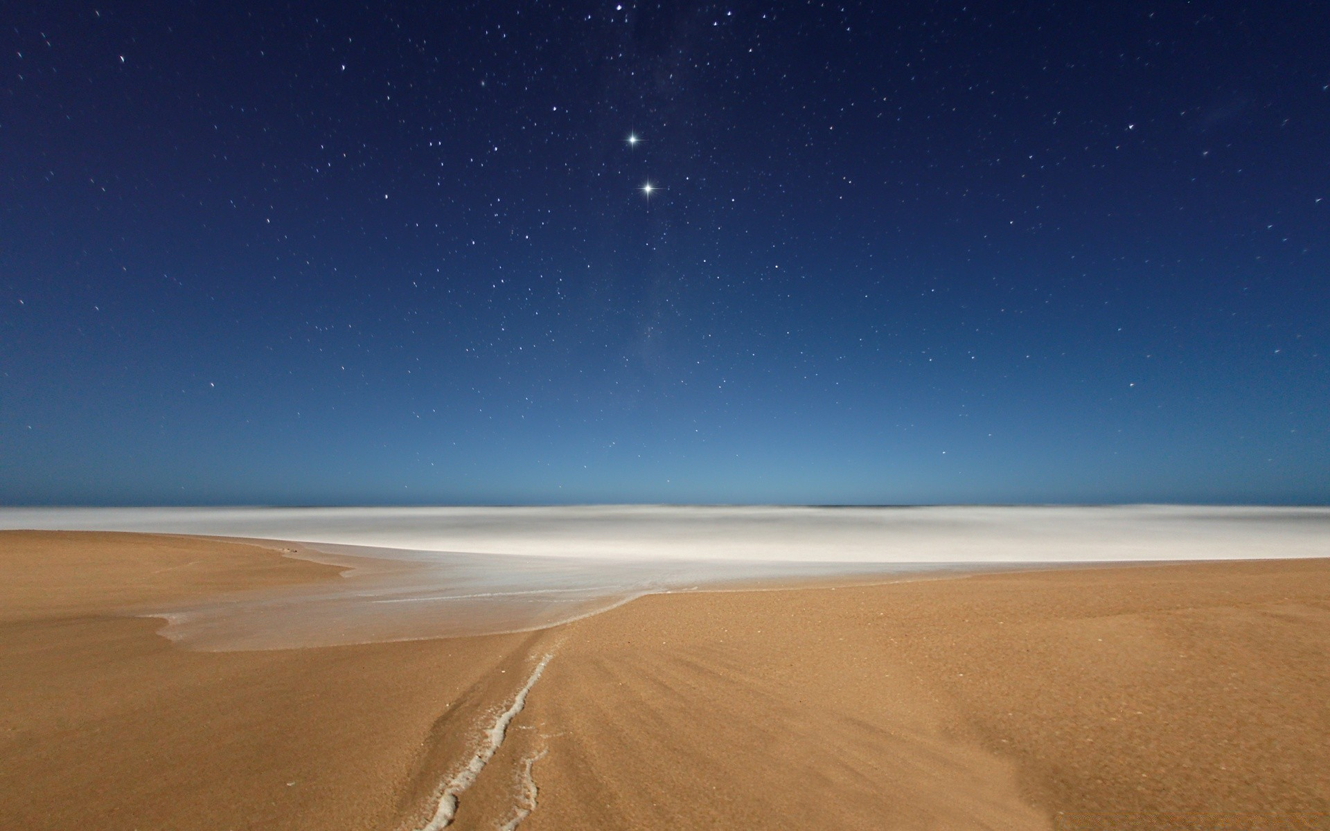 Sea And Ocean Sand Desert Sky Barren Dune Moon Travel - Beach Stars - HD Wallpaper