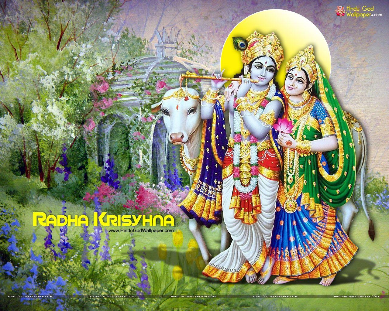 God Krishna And Radha - HD Wallpaper
