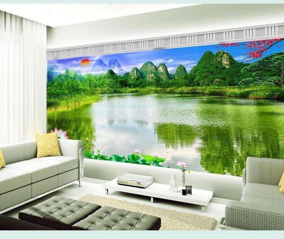 Hijau Hutan 3d Wallpaper Tv Latar Belakang Wallpaper - Living Room Decorating Ideas - HD Wallpaper