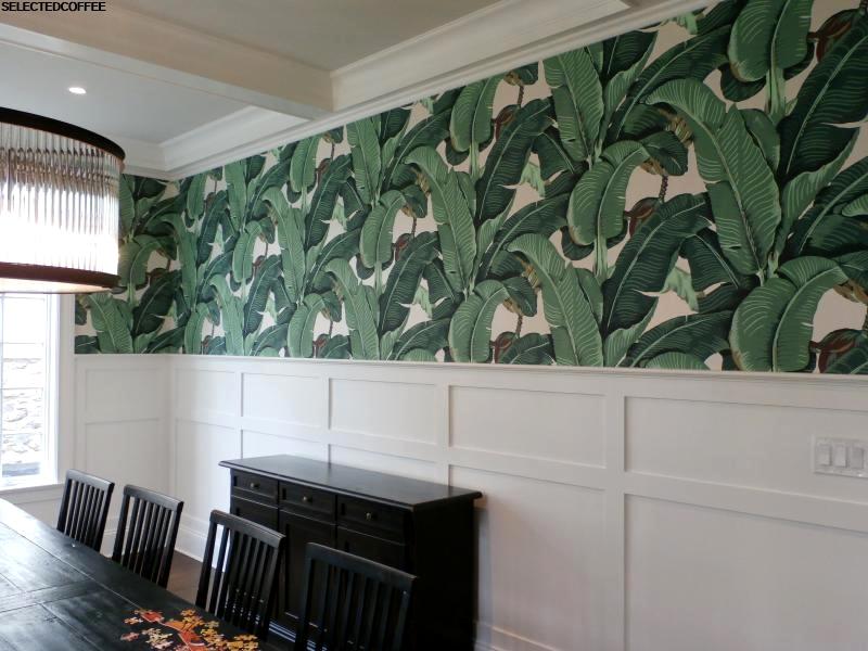 Contoh Gambar Desain Ruang Tamu Dengan Wallpaper Terkini - Palm Leaf Dining Room - HD Wallpaper