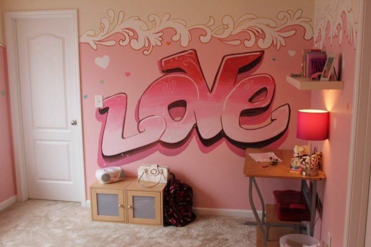 Bedroom Wall Paint Designs Pink - HD Wallpaper