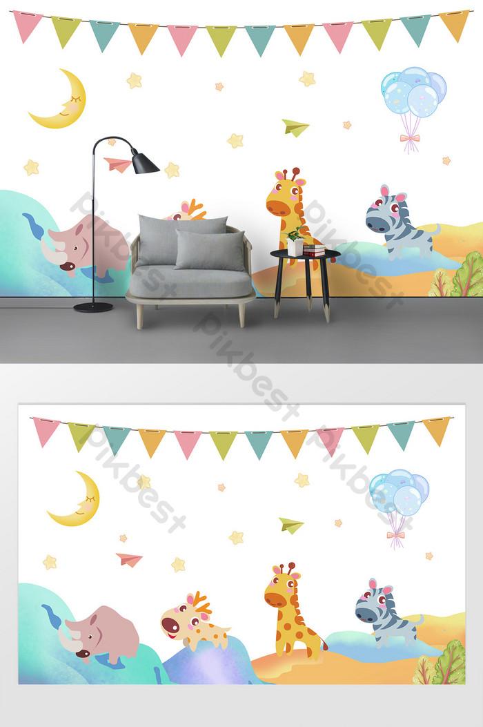 Kartun Hewan Kecil Segar Lucu Dinding Wallpaper Dinding - Gambar Wallpaper Dinding Kartun - HD Wallpaper