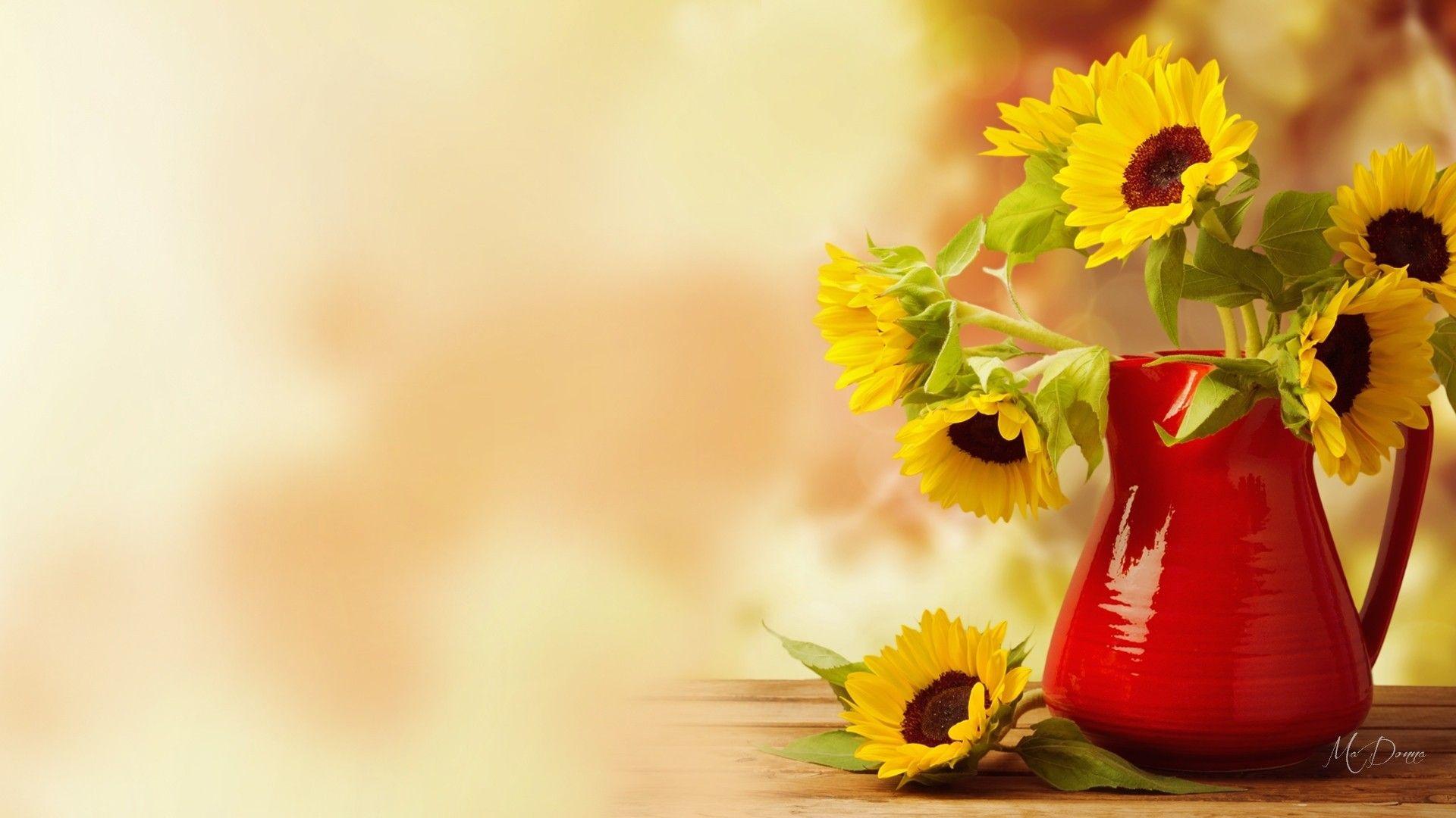 Autumn Flowers Life Bouquet Vase Bright Still Summer - Fall Flowers Desktop Backgrounds - HD Wallpaper