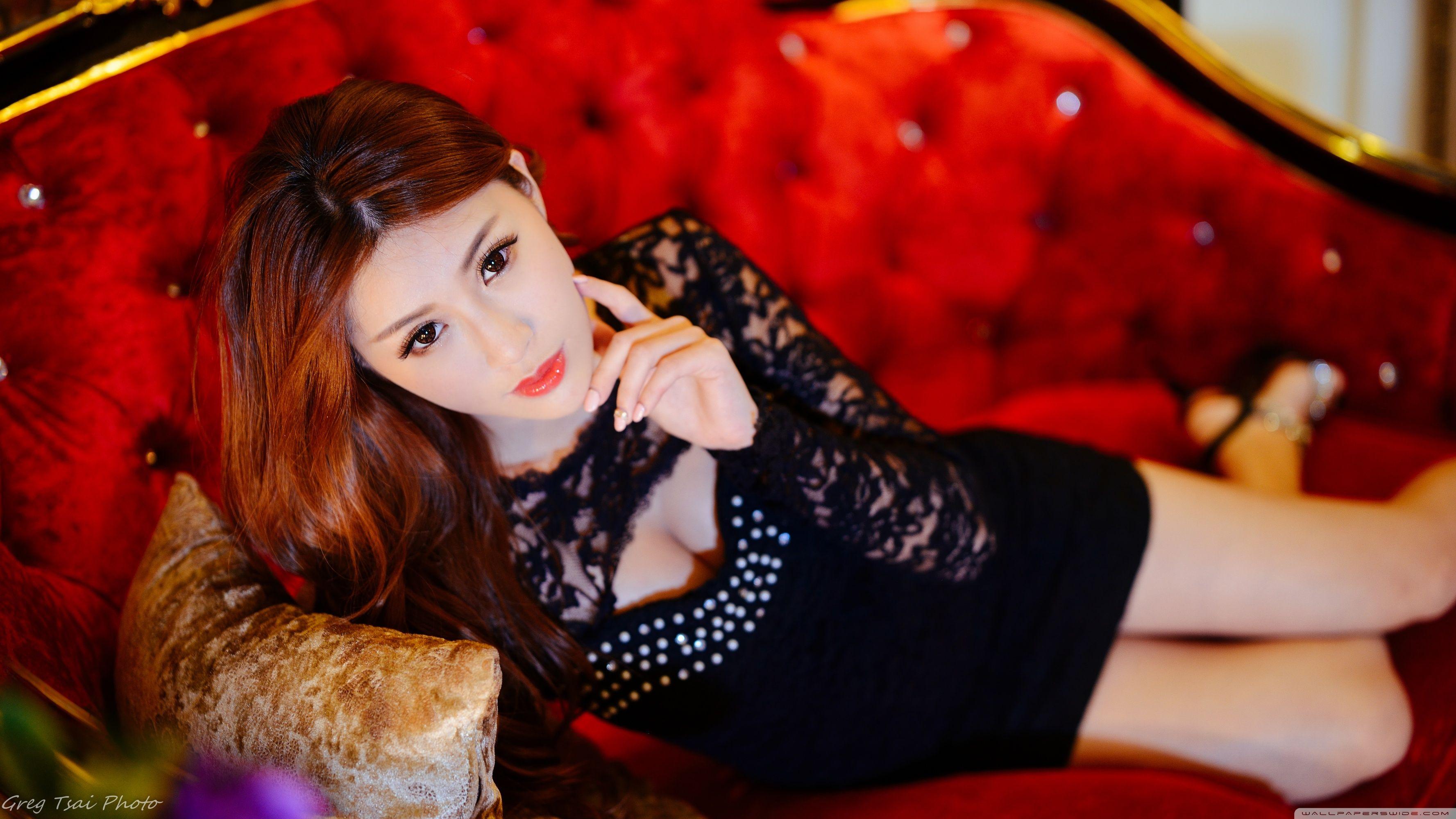 Beautiful Asian Girl, Red Luxury Sofa ❤ 4k Hd Desktop - Asian Girls 4k Hd - HD Wallpaper
