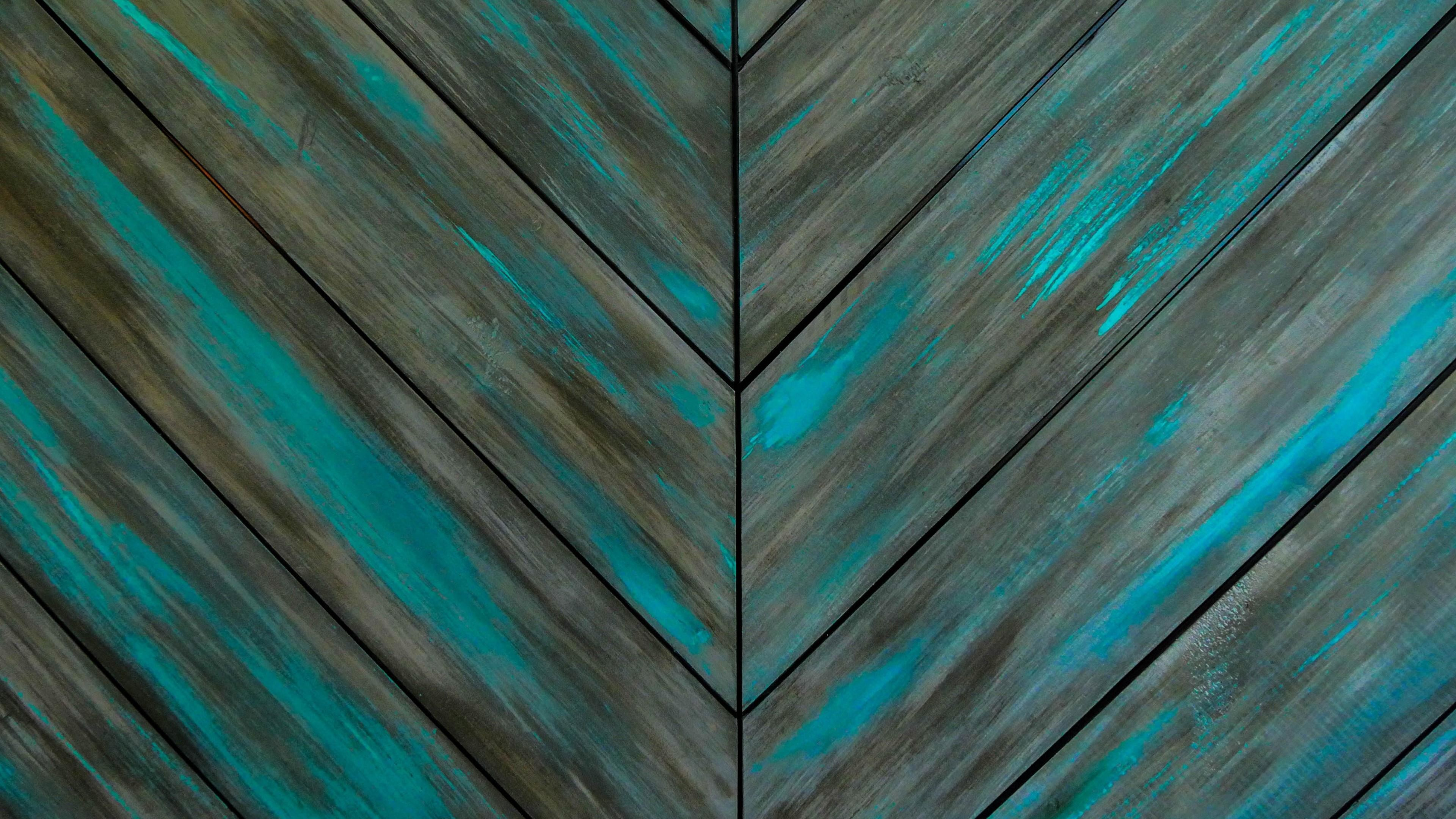 3840x2160, Turquoise Wood Wall - Dark Teal Wood Background - HD Wallpaper
