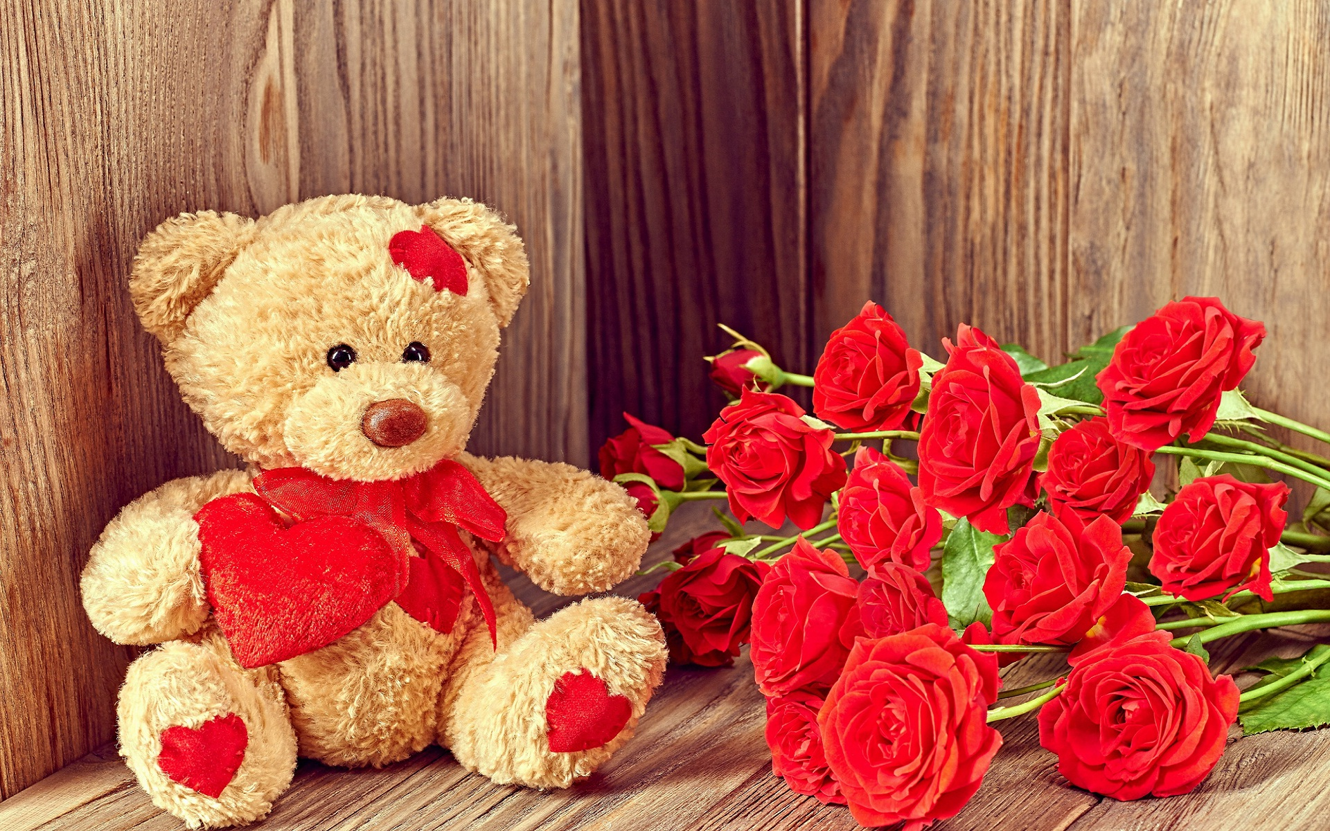 I Love You Red Rose Flowers And Teddy Full Hd Wallpapers - Teddy Bear Wallpaper Hd For Desktop - HD Wallpaper
