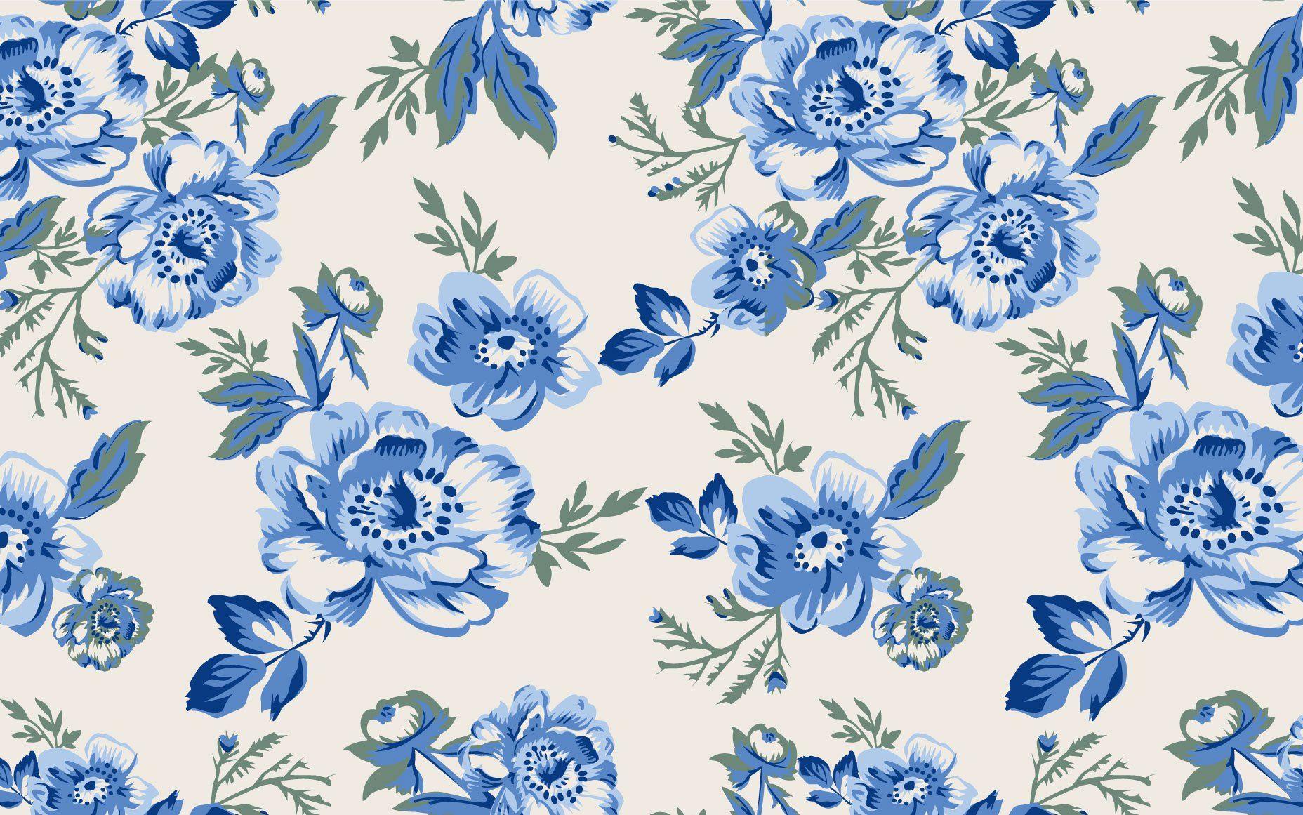 Vintage - Background Flower Vintage Blue - HD Wallpaper