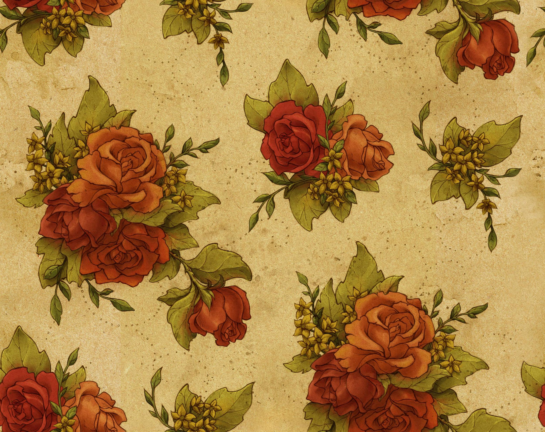 Brown Vintage Floral Background - HD Wallpaper