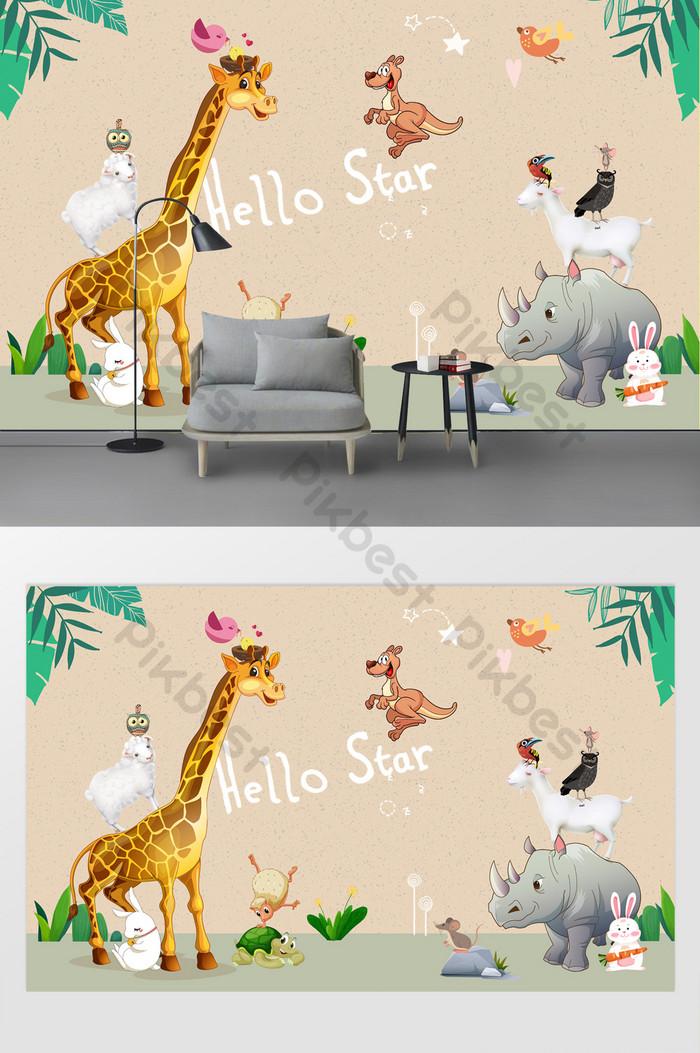 Koleksi Kartun Hewan Lucu Dinding Latar Belakang Kamar - Hewan Lucu Kartun - HD Wallpaper