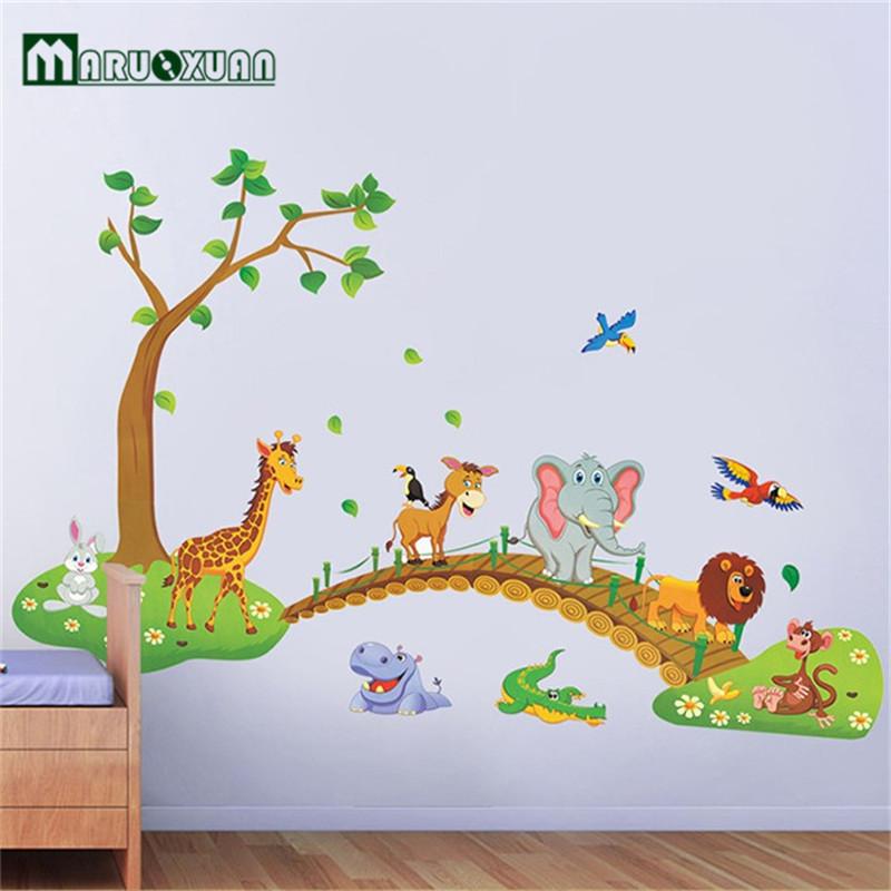 Modern Wall Sticker For Kid Bedroom Big Jungle Animal - Vinilo Animales De La Selva - HD Wallpaper