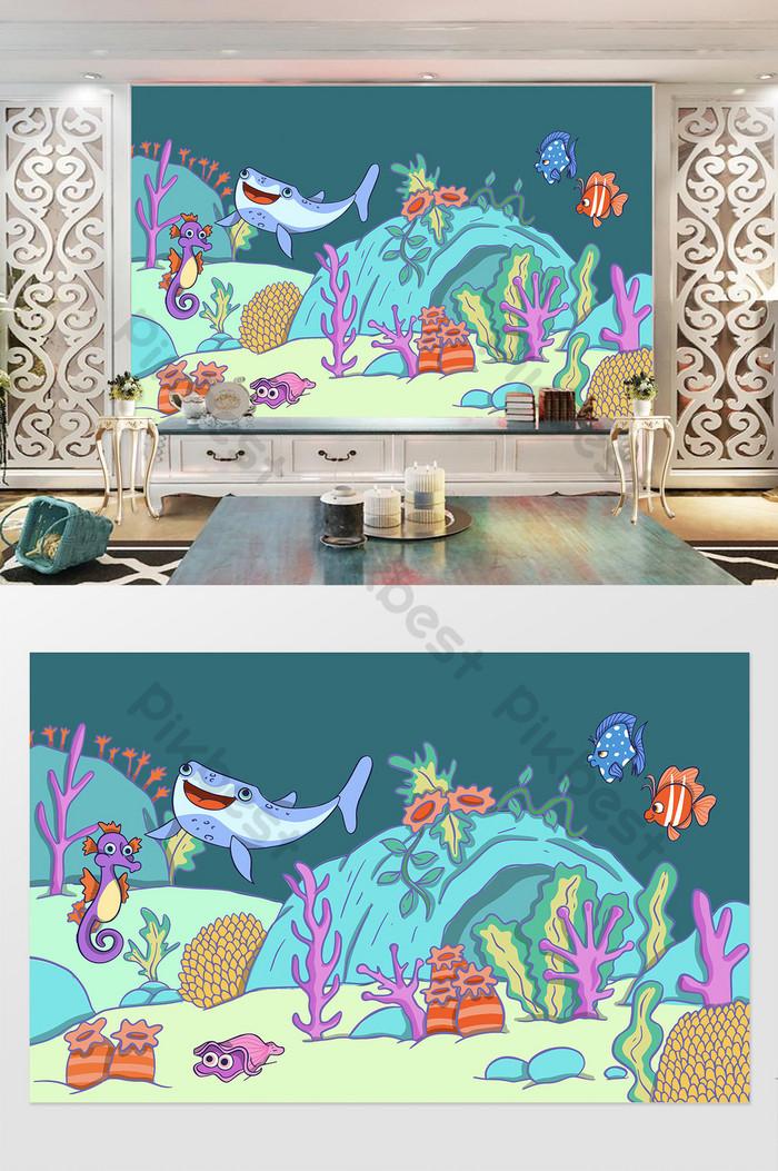 Lucu Kartun Anak-anak Kamar Latar Belakang Tv Dinding - Wall Tiles Leaf And Flower Model - HD Wallpaper