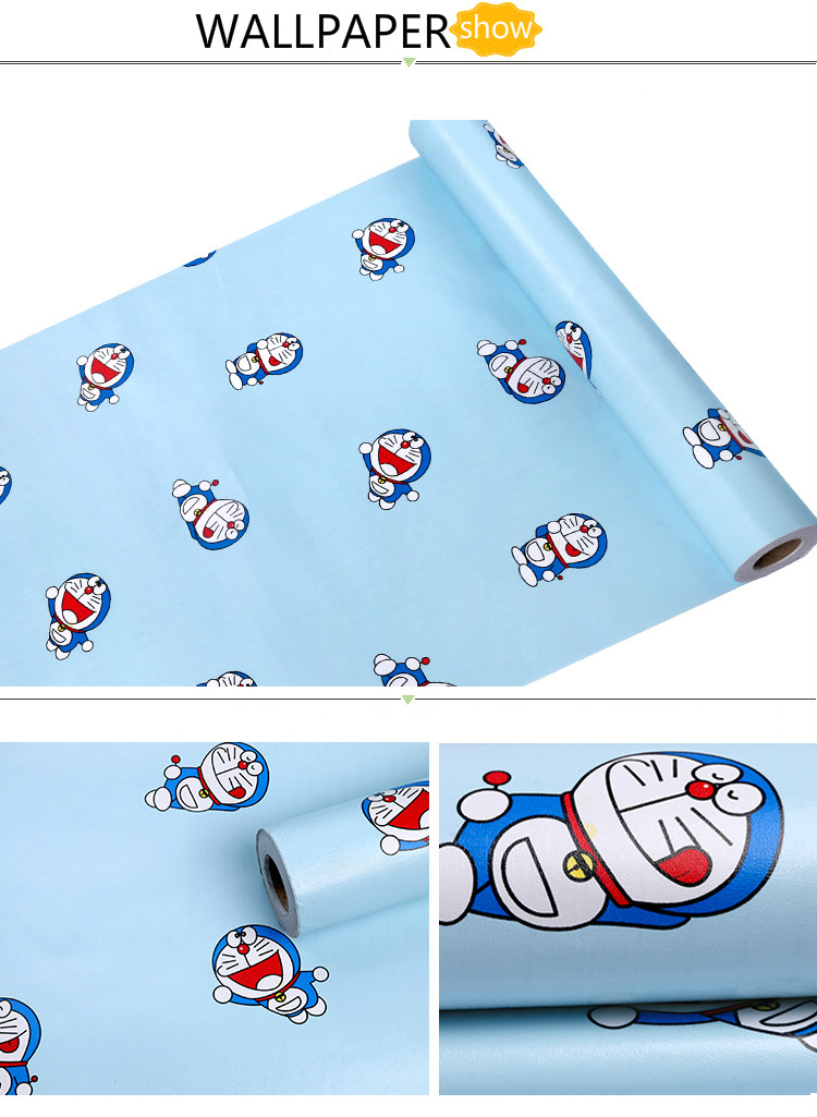 Pvc Vinyl Wallpaper Kartun Biru Kucing Kertas Dinding - Doraemon - HD Wallpaper