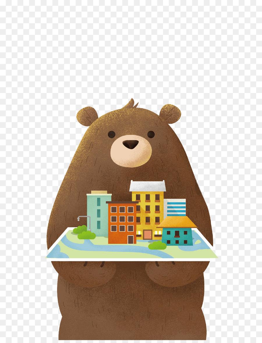 Beruang Coklat Splash Screen Wallpaper Kartun Lucu - Cartoon - HD Wallpaper
