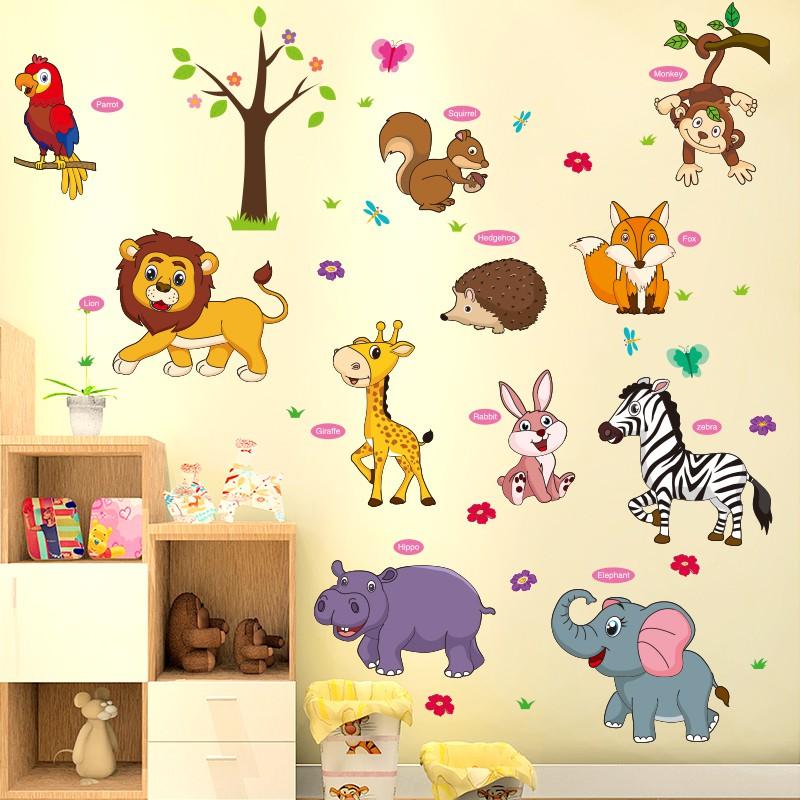 Hewan Kartun Di Dinding - HD Wallpaper