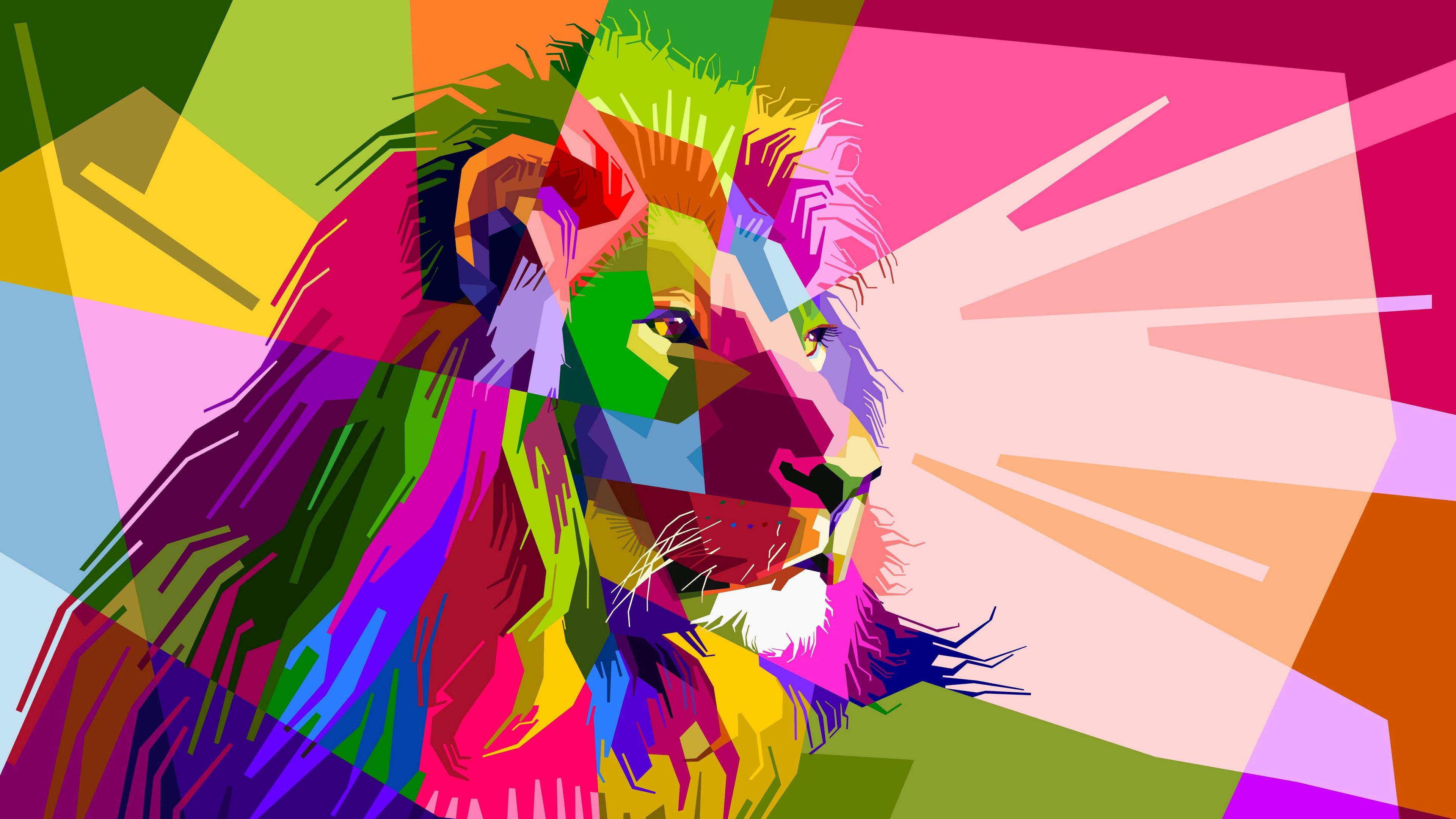 Colorful Lion Hd - HD Wallpaper