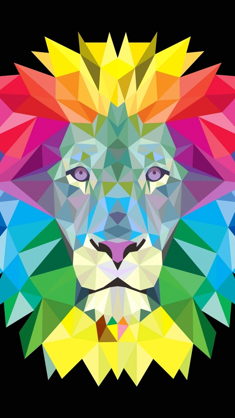 Iphone Wallpaper Colorful Lion Mane, Vector Picture - Polygon Lion - HD Wallpaper