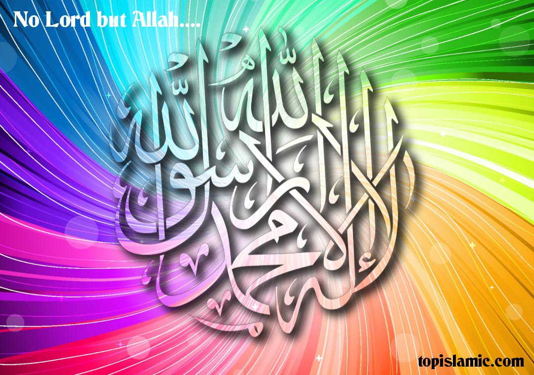 Kalimah Allah Wallpaper - Colorful Beautiful Allah - HD Wallpaper