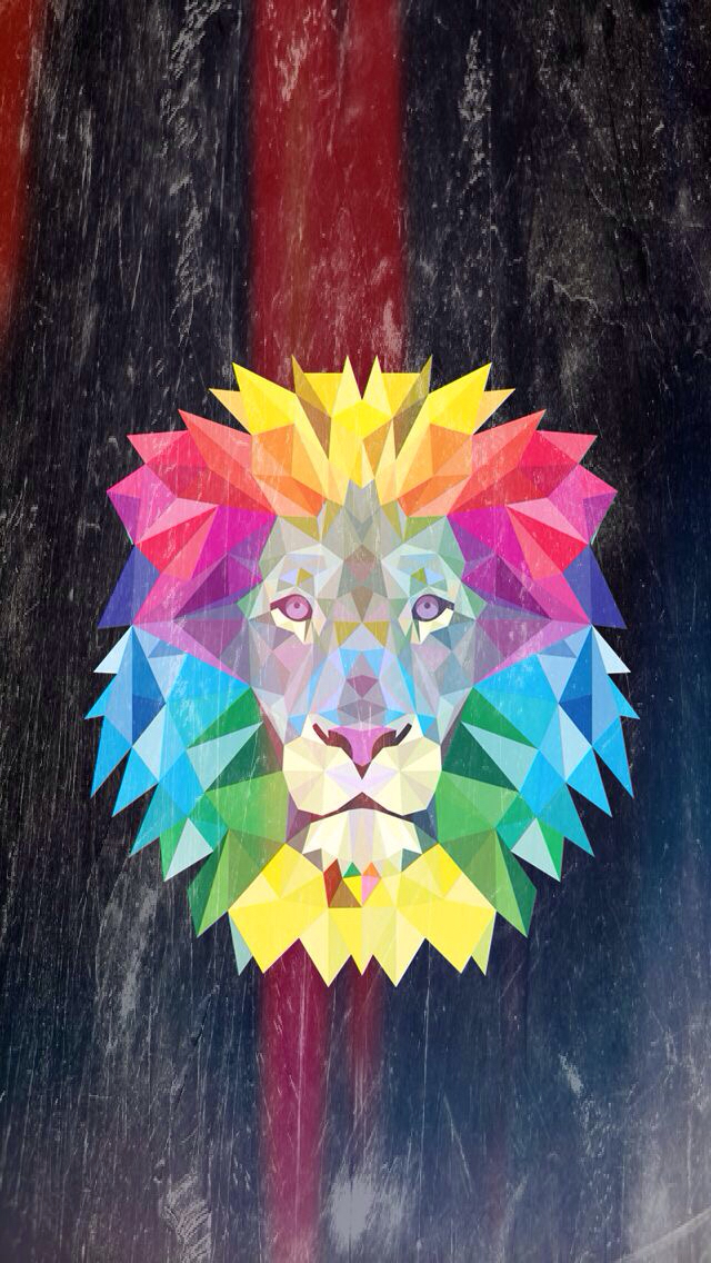 Lion, Wallpaper, And Colorful Image - Lion Geometric - HD Wallpaper