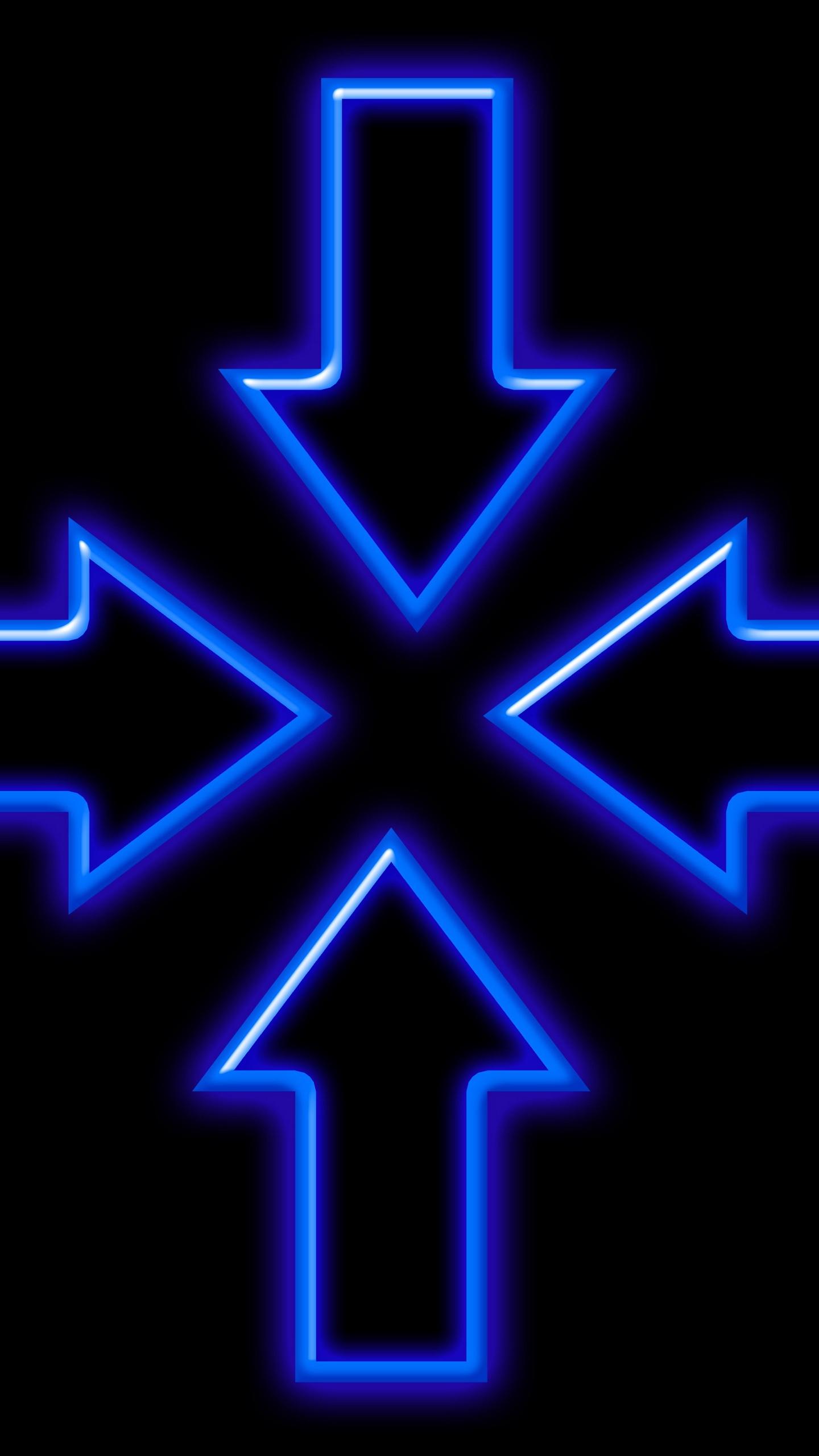 Wallpaper Arrows, Neon, Lights, Blue - Neon Light Blue - HD Wallpaper