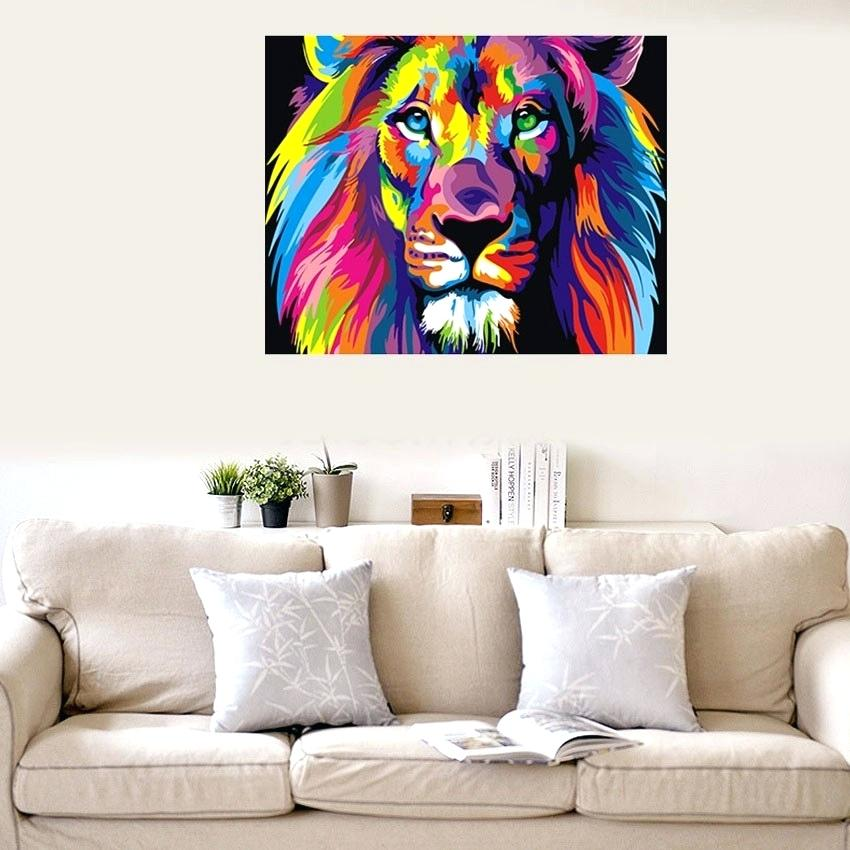 Digital Wall Art Colorful Lion By Numbers Abstract - HD Wallpaper