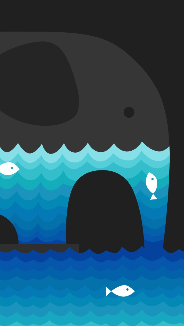Abstract Elephant And Water Fish Iphone Wallpaper - 魚 イラスト Iphone 壁紙 - HD Wallpaper