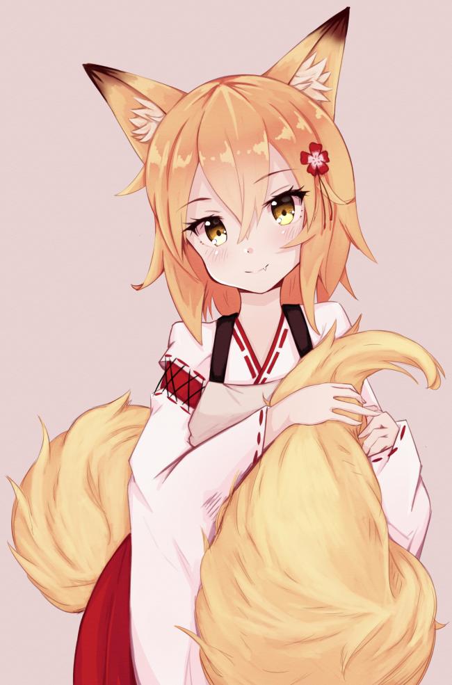 Animal Ears Blonde Anime Fox Girl Cute Short Hair Cute Anime Fox Girl 650x985 Wallpaper Teahub Io