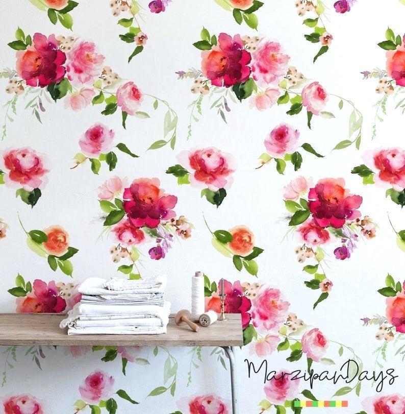 Floral Wallpaper Floral Desktop Wallpaper High Resolution - Watercolor Painting - HD Wallpaper