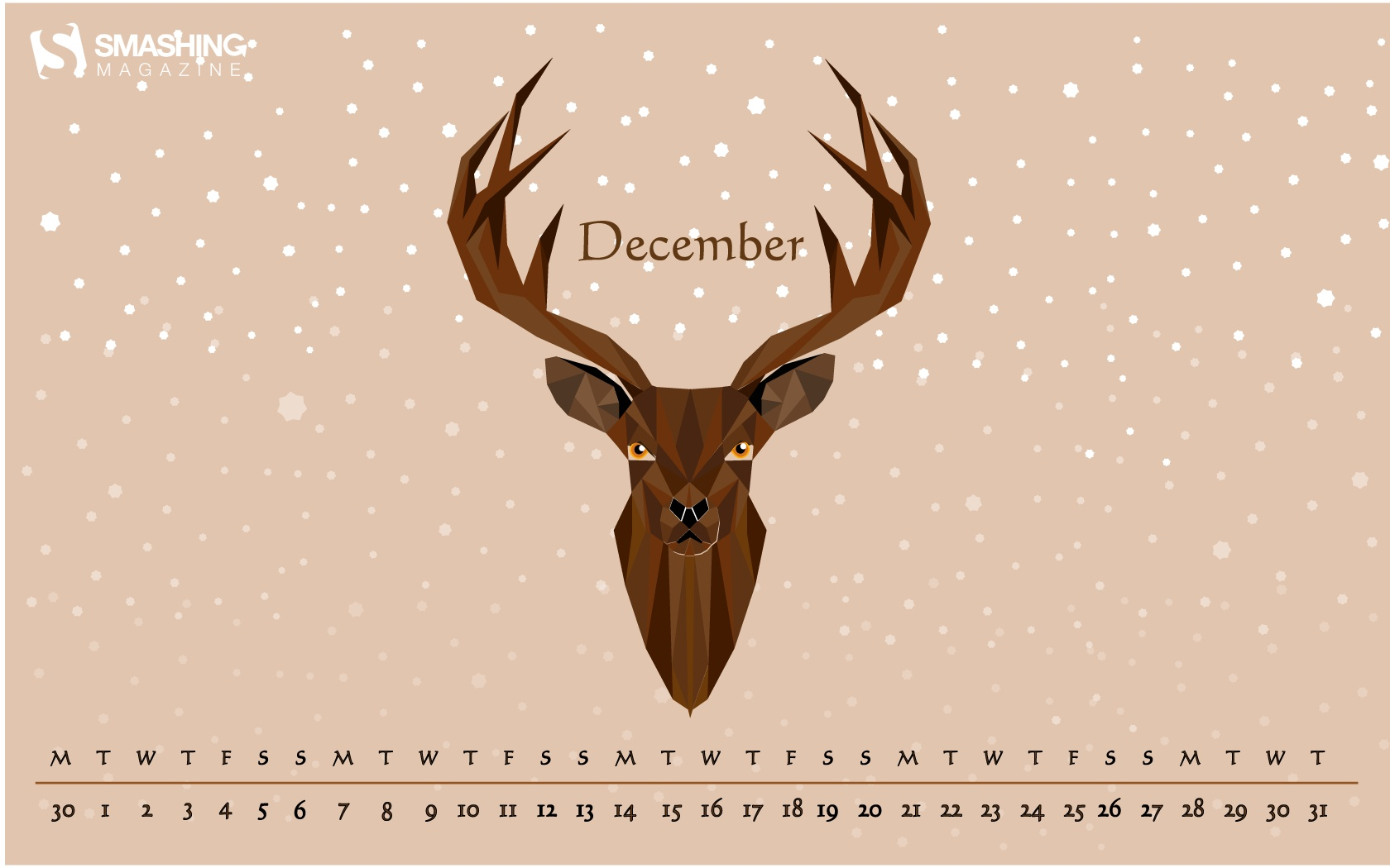 15 151829 month calendar christmas desktop wallpaper reindeer