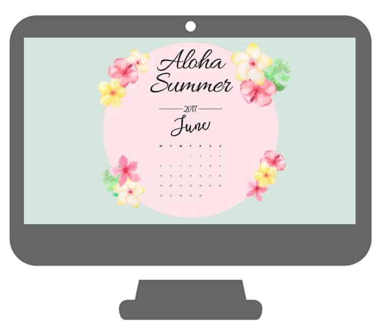 Aloha Summer Desktop Wallpaper With A June Calendar - Aloha Summer June Desktop Background - HD Wallpaper