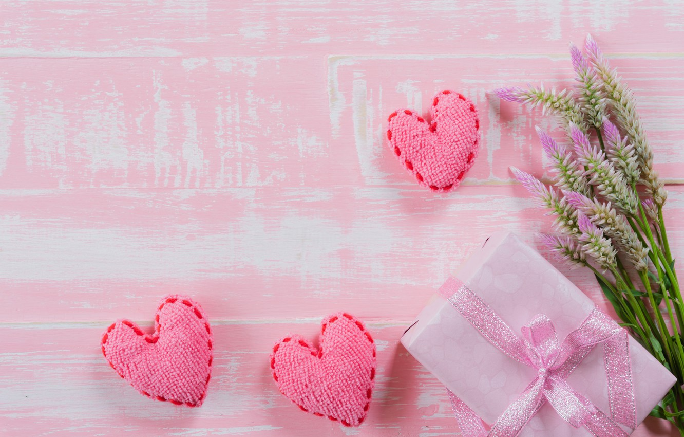 Photo Wallpaper Love, Flowers, Background, Pink, Gift, - Hearts And Flower Background - HD Wallpaper