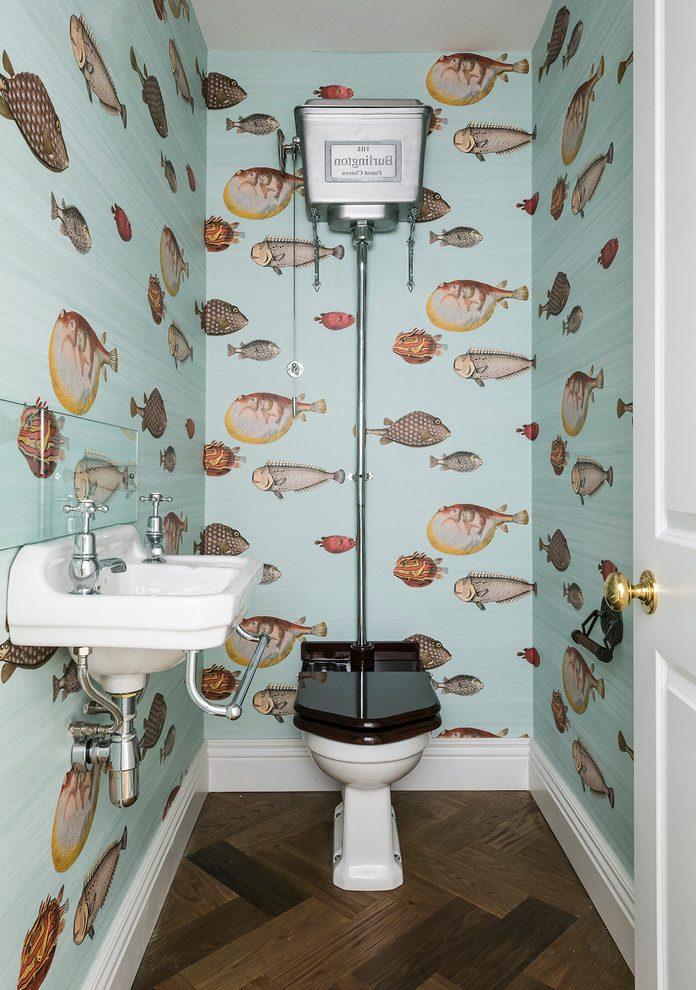Parquet Flooring And Fish Wallpaper, Fish Wallpaper For Bathroom